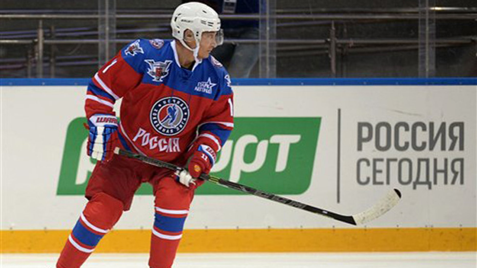 Oct. 7, 2015: Russian President Vladimir Putin takes part in an ice hockey match between former NHL stars and officials at the Shayba Arena in the Black Sea resort of Sochi, Russia. Putin spent his 63rd birthday on the ice, playing hockey with NHL stars against Russian officials and tycoons.