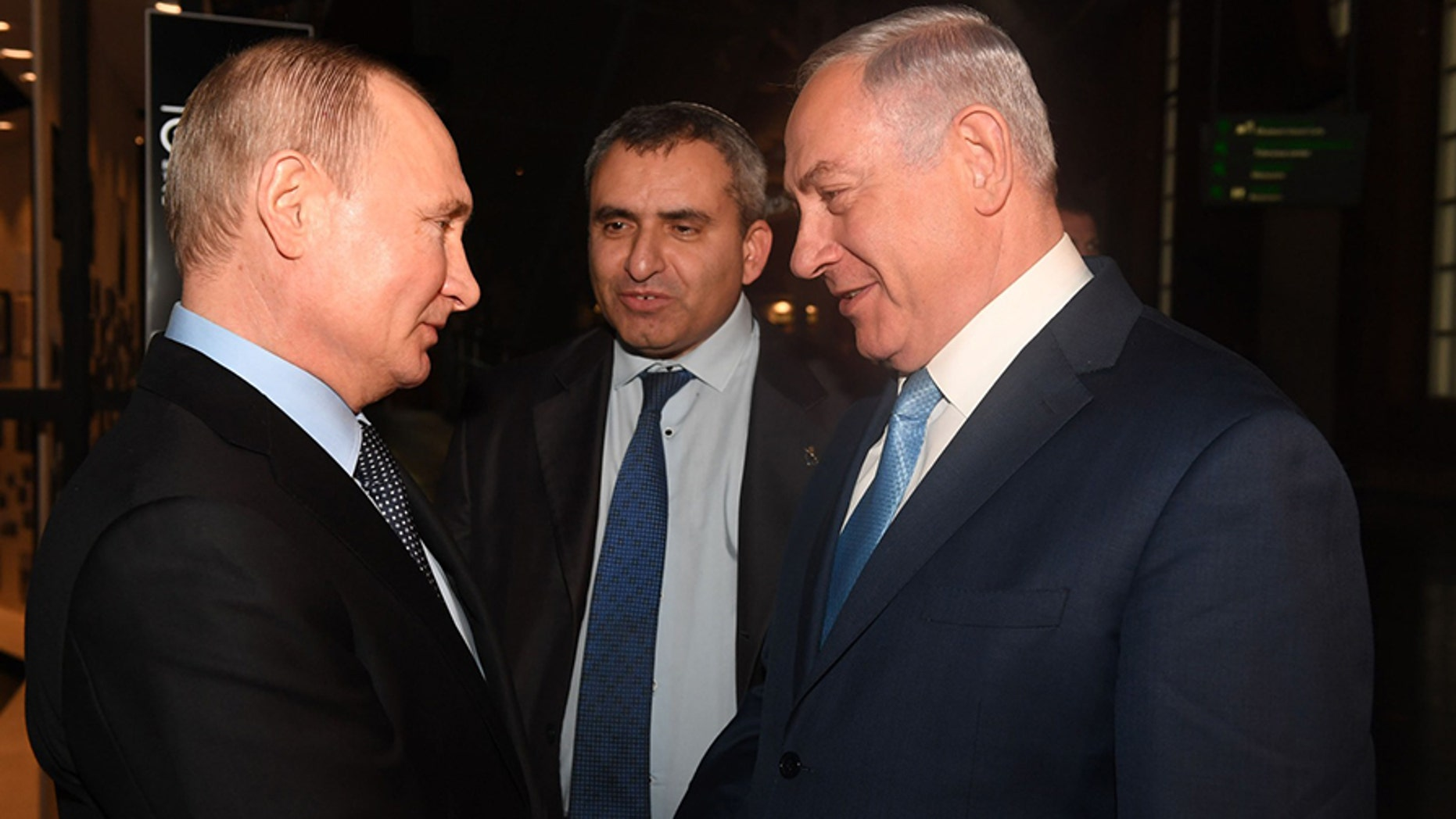 Russian President Vladimir Putin and Israeli Prime Minister Benjamin Netanyahu met Monday in Moscow to discuss remnants of the Holocaust and the future of Syria. (Israeli Prime Minister Office)