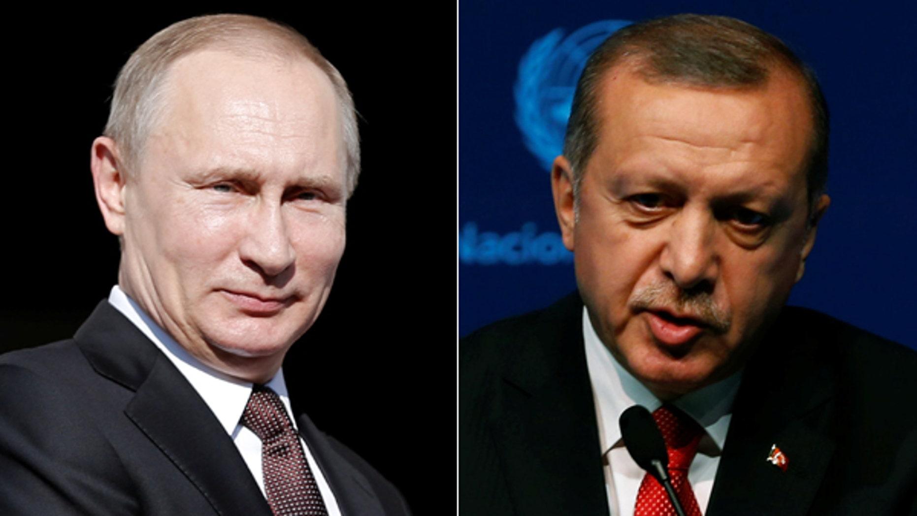 Russian President Vladimir Putin, left, and Turkish President Recep Tayyip Erdogan.