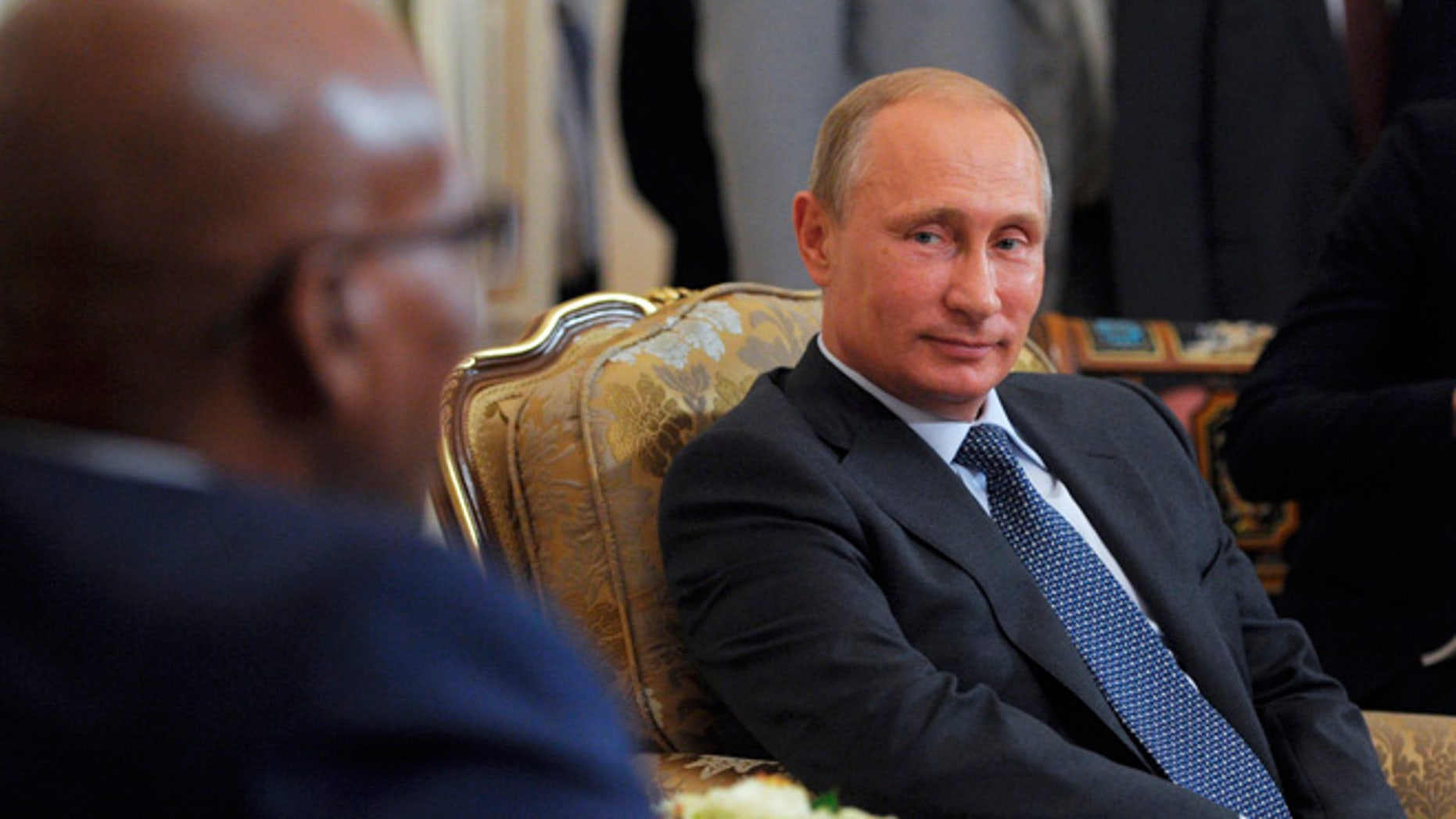 Aug 28, 2014: Russian President Vladimir Putin, right, meets with South African President Jacob Zuma in the Novo-Ogaryovo residence outside Moscow, Russia. (AP)