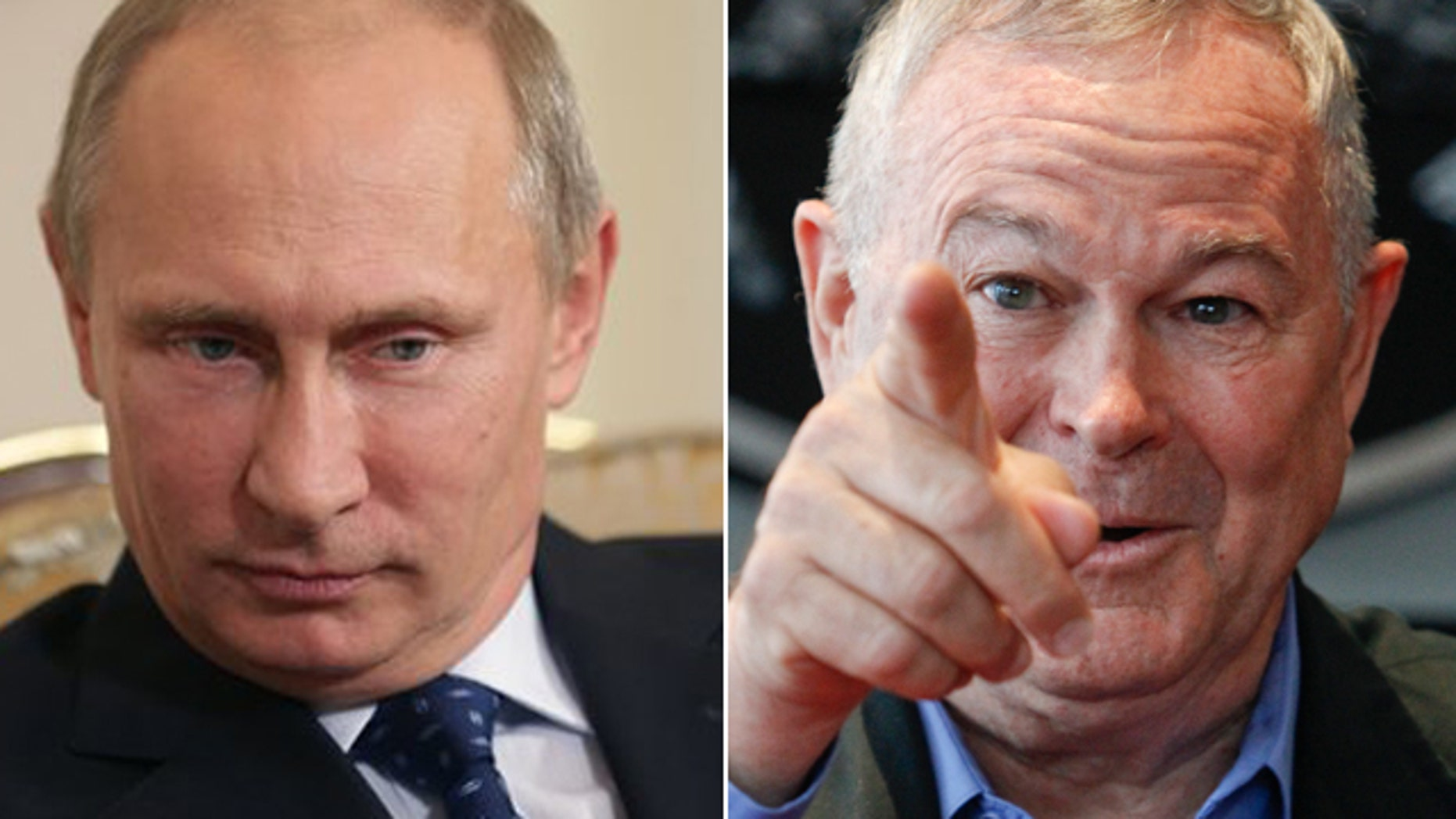 Russian President Vladimir Putin, left, and U.S. Rep. Dana Rohrabacher.