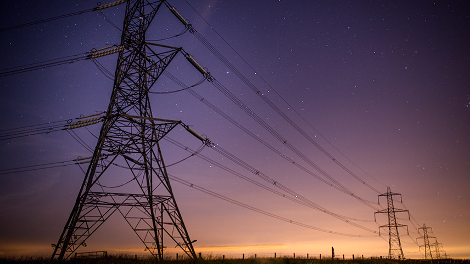 This file photo shows pylons in the UK.