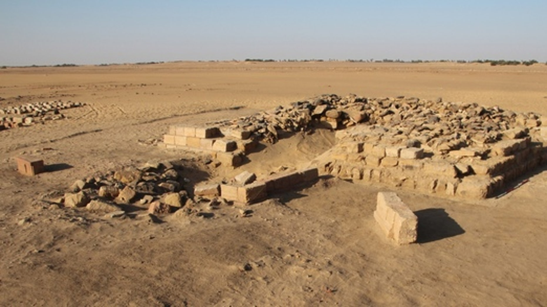 One of 16 pyramids uncovered in a cemetery in the ancient town of Gematon in Sudan. The pyramid likely rose more than 39 feet in height.