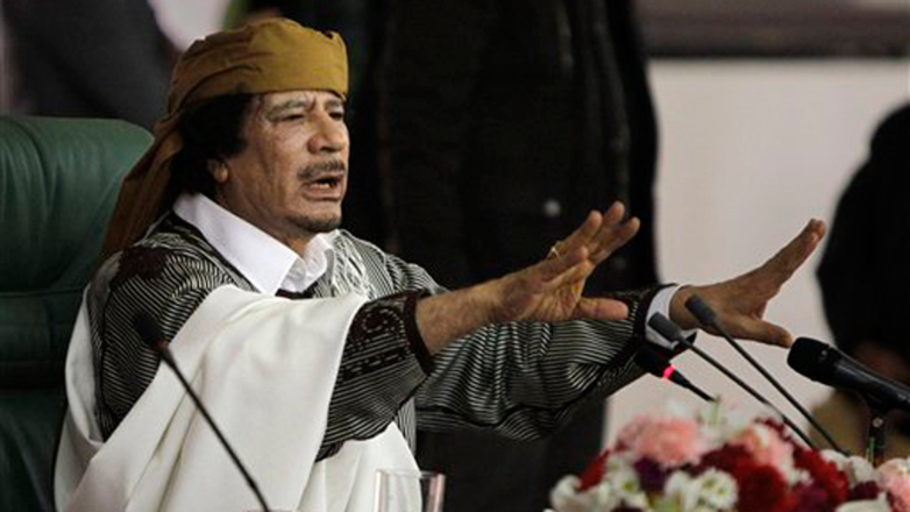 Libyan leader Muammar al-Qaddafi is shown in Tripoli on March 2.