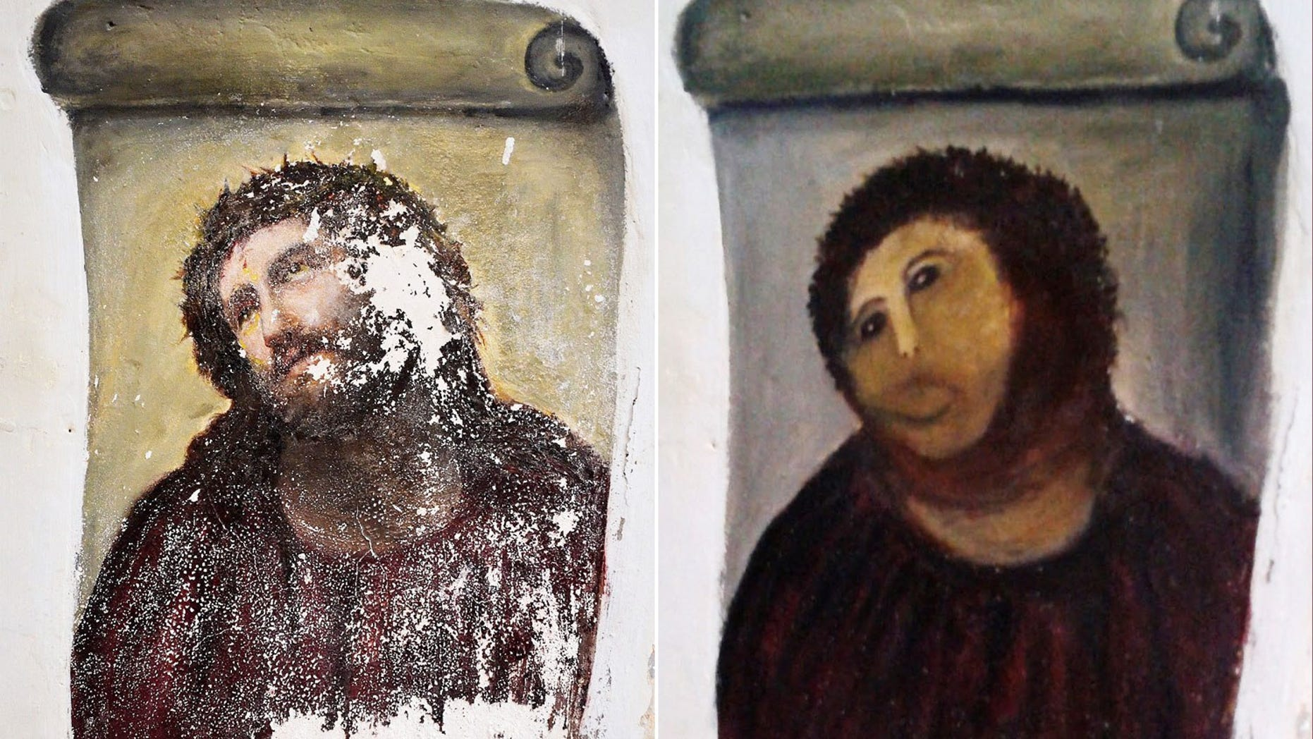 """""""Ecce Homo"""" before (left) and after its 2012 restoration."""