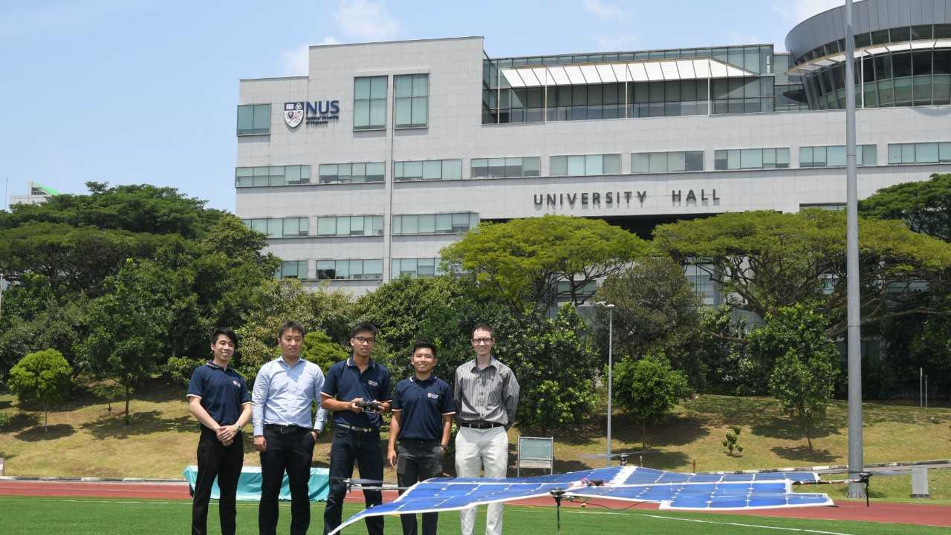 The quadcopter drone developed by the NUS Engineering team can be powered solely by sunlight and has flown above 10 meters in test flights. (Credit: National University of Singapore)