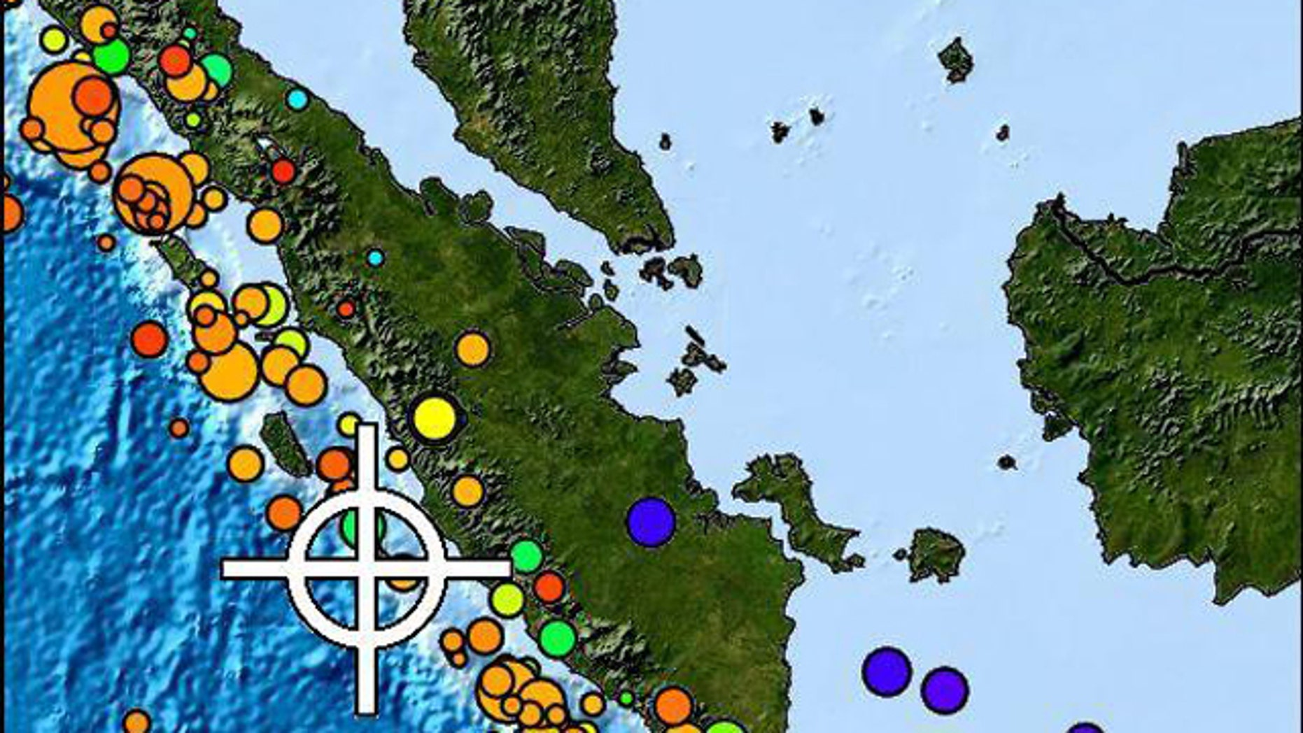 Circles indicate the magnitude and colors indicate the depth of earthquakes off the coast of Indonesia in this NOAA map. Red colors indicate shallower quakes, while green through purple indicate deeper quakes less likely to lead to a tsunami.