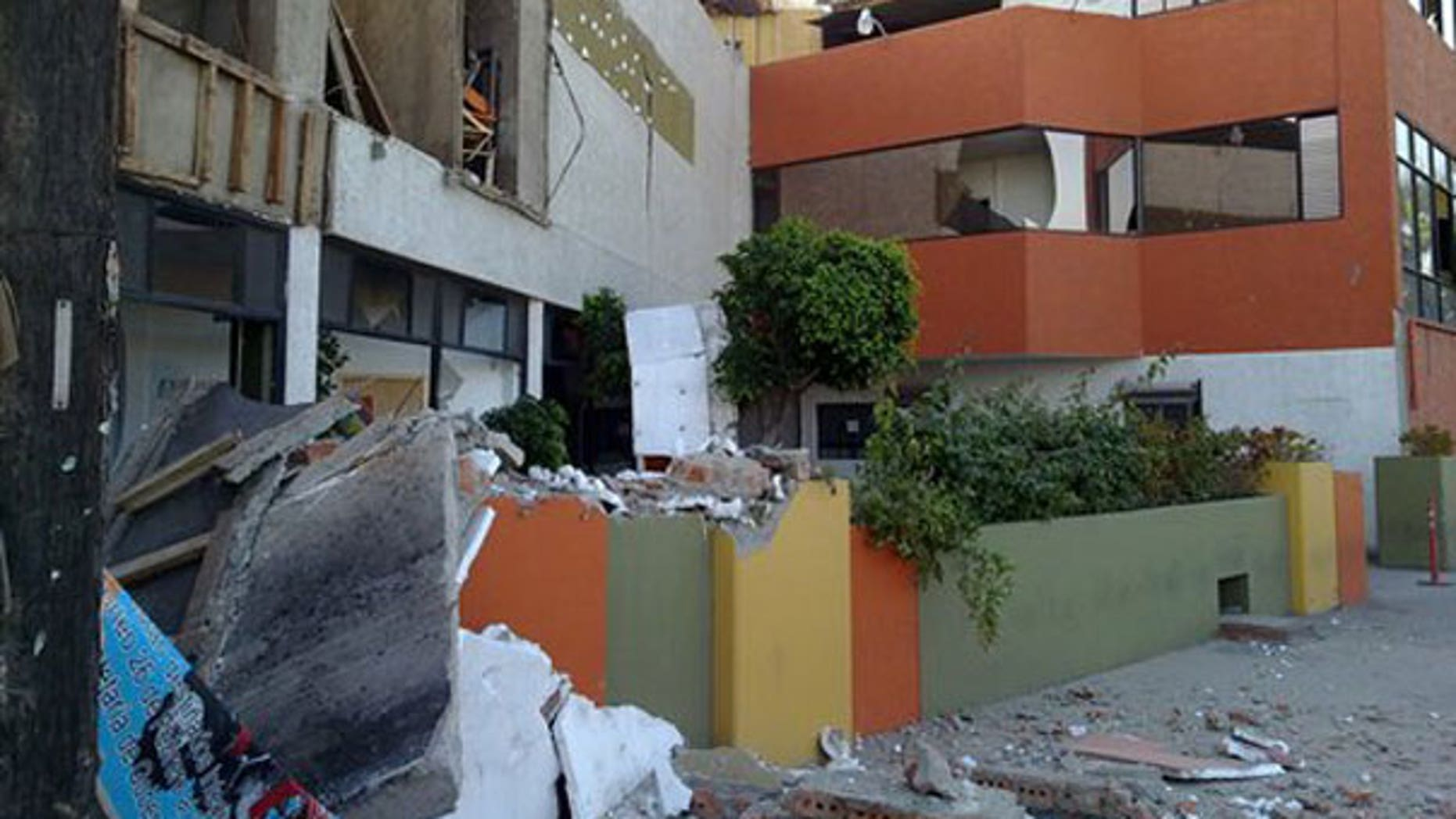 "April 4: Photo provided by Jorge Rivera aka ""cimarron98"" via Twitter shows structural damage to the Escomex business school building after an earthquake in Mexicali, Mexico. (AP)"