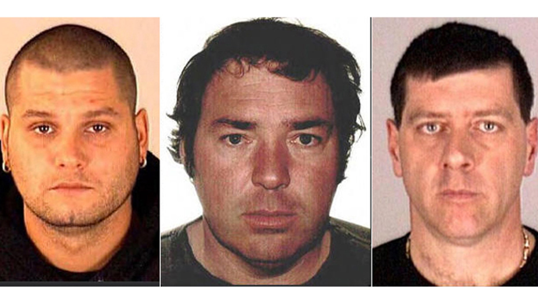June 22, 2014: These images provided by Interpol show Yves Denis, 35, left, Serge Pomerleau, 49, center and  Denis Lefebvre, 53, in undated police handout photos. The three inmates, who escaped a jail near Quebec City by helicopter on June 7, were arrested at a home in Montreal, Quebec provincial police said.