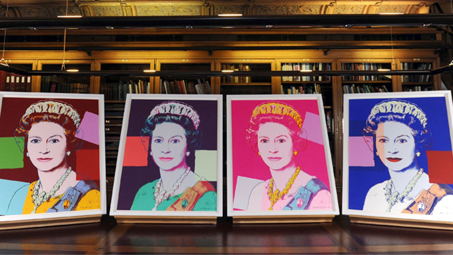 """Sept. 24, 2012: Four Andy Warhol portraits of Queen Elizabeth II are seen in Windsor Castle, Windsor, England, and will form part of the """"Portraits of a Monarch"""" exhibit starting in November at Windsor Castle until June 2013."""
