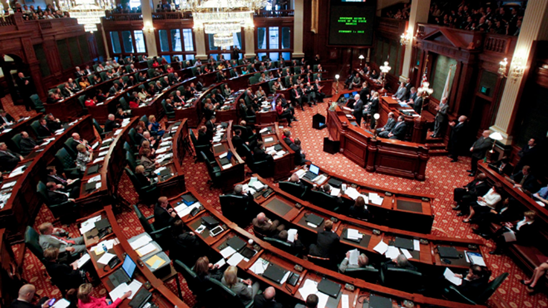 In this 2012 file photo, Illinois Gov. Pat Quinn delivers his State of the State address to the joint session of the General Assembly in Springfield, Ill.