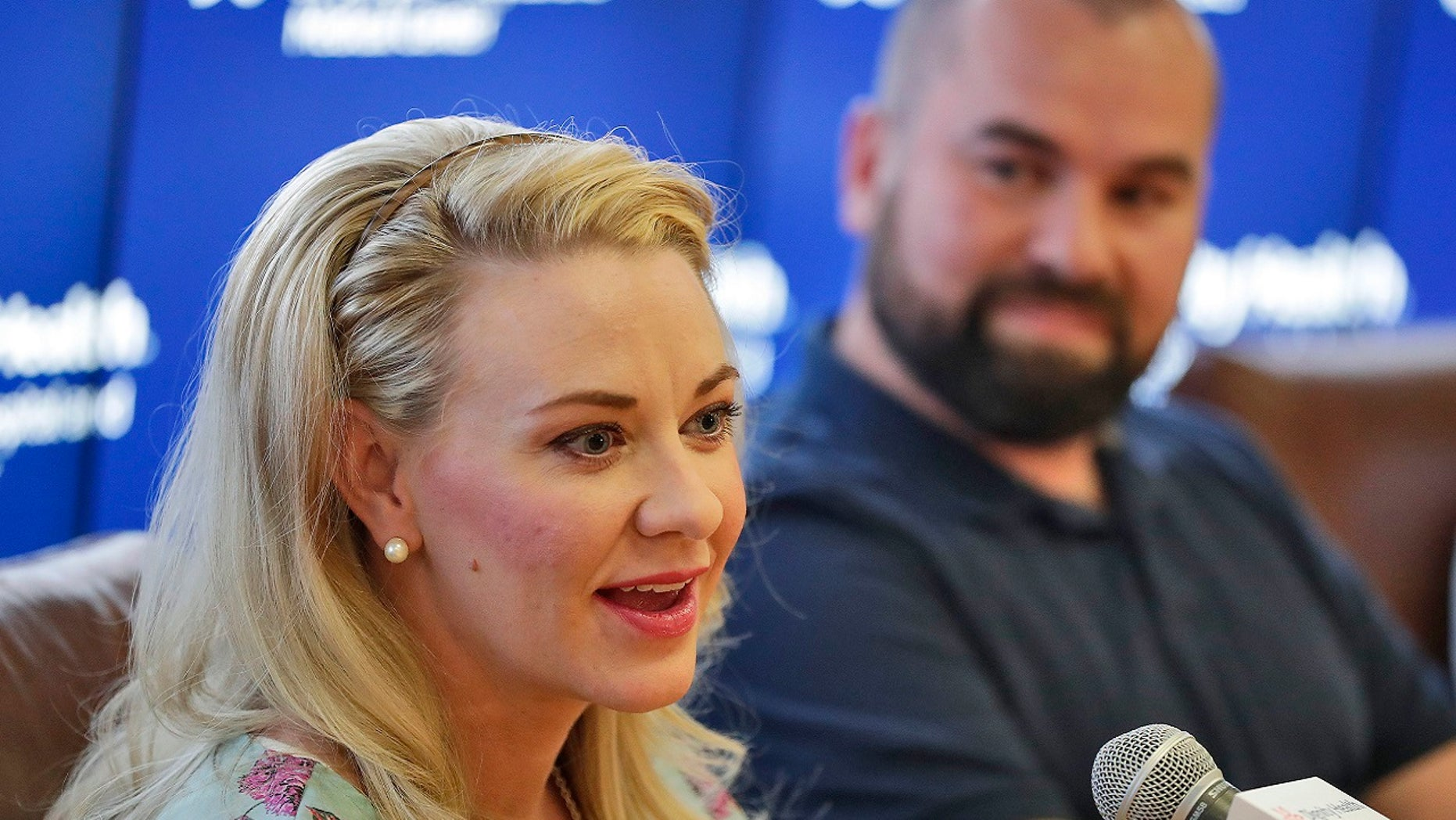 Jamie Scott speaks accompanied by her husband, Skyler, during a news conference at St. Joseph's Hospital and Medical Center in Phoenix on Friday, April 6, 2018. Jamie gave birth to quintuplets on March 21, 2018.