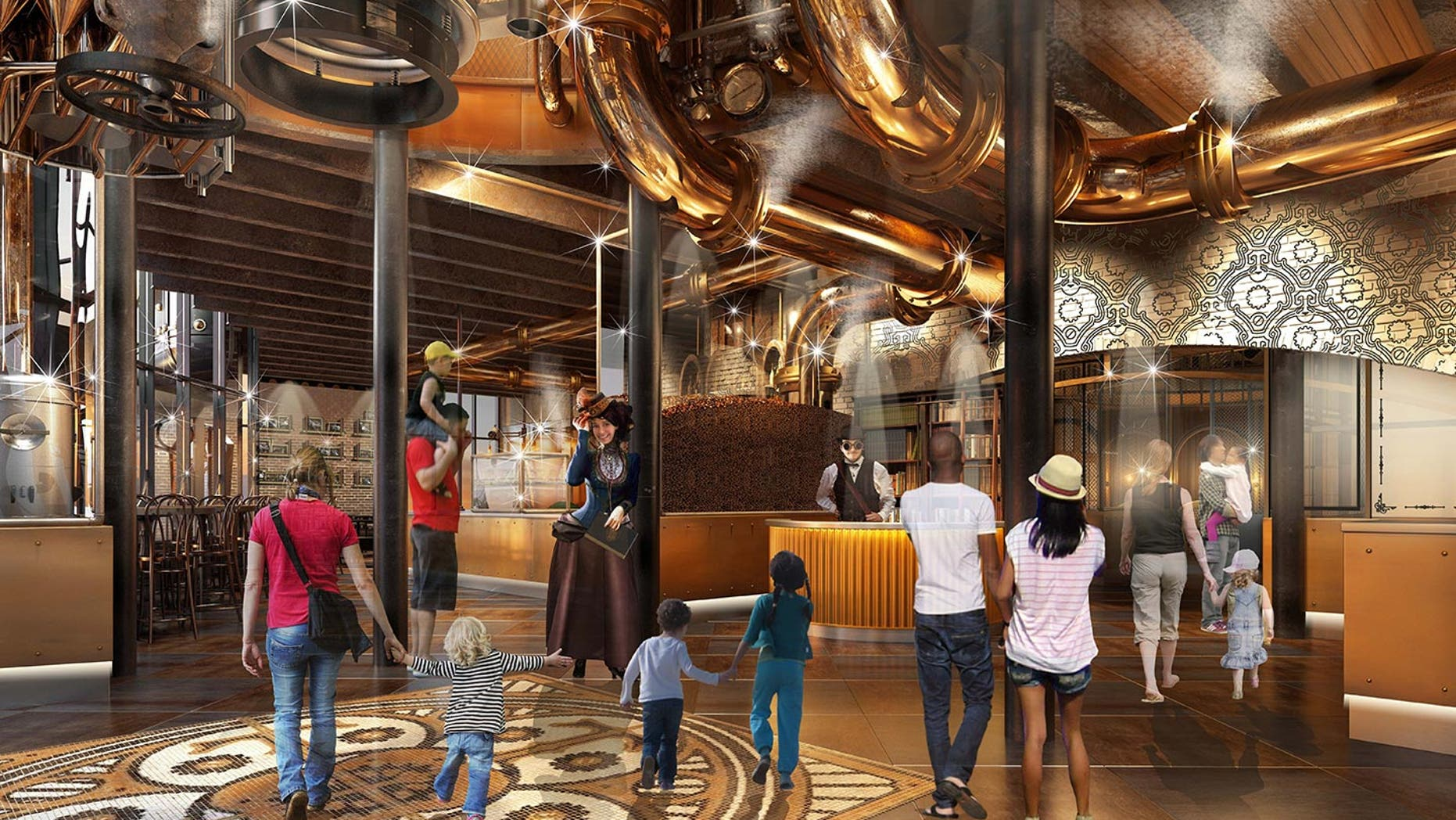 Inside Willy Wonka's steampunk chocolate factory restaurant.