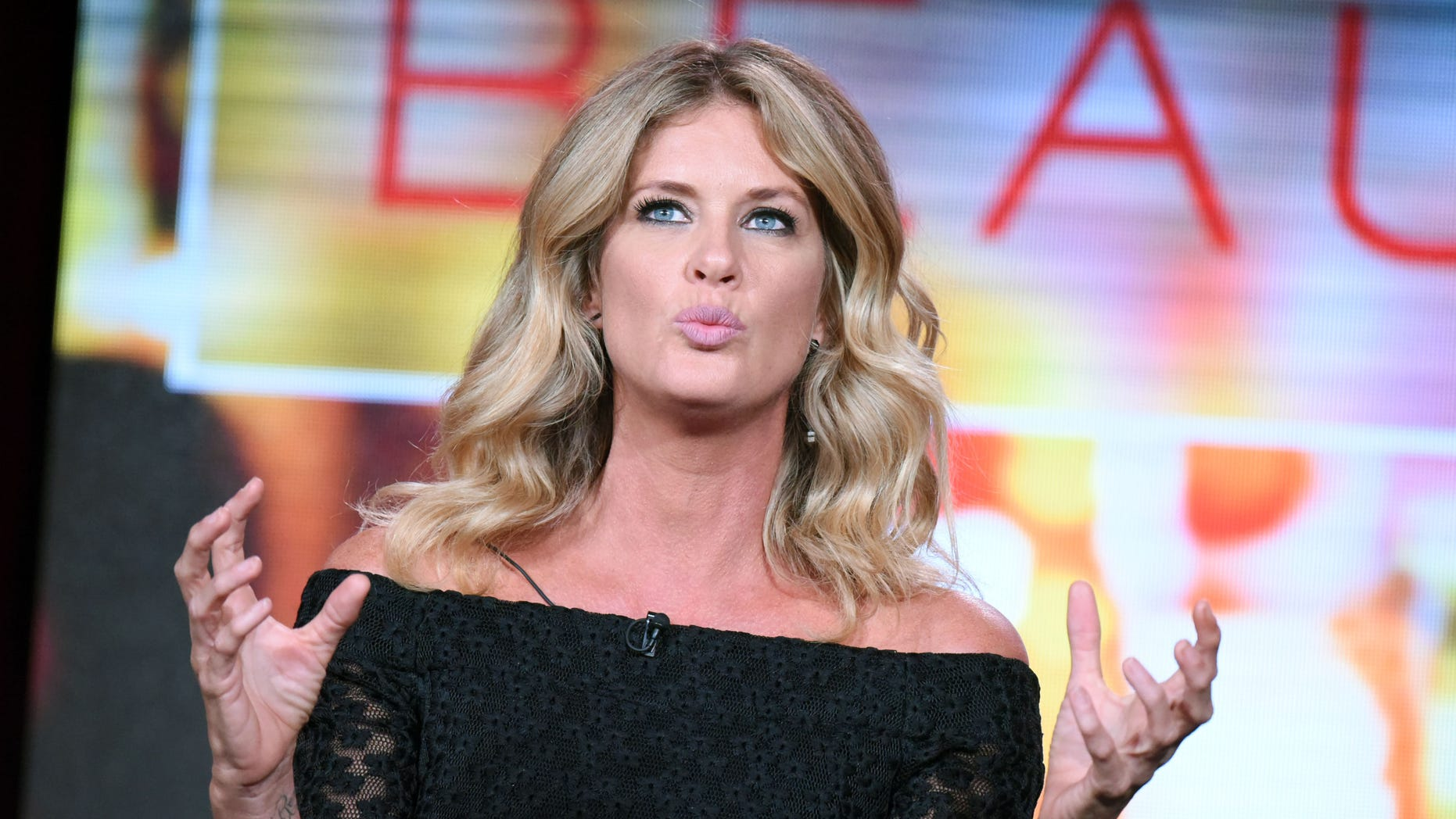 """Rachel Hunter speaks during the """"Rachel Hunter's Tour of Beauty"""" panel at the Ovation 2016 Winter TCA on Tuesday, Jan. 5, 2016, in Pasadena, Calif. (Photo by Richard Shotwell/Invision/AP)"""