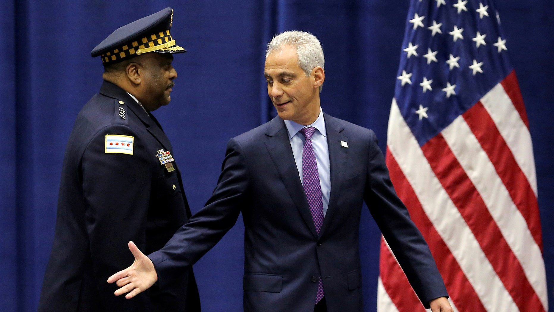 Chicago Mayor Rahm Emanuel and Police Superintendent Eddie Johnson in 2016. Police said 'some progress' has been made in the city's crime fight.