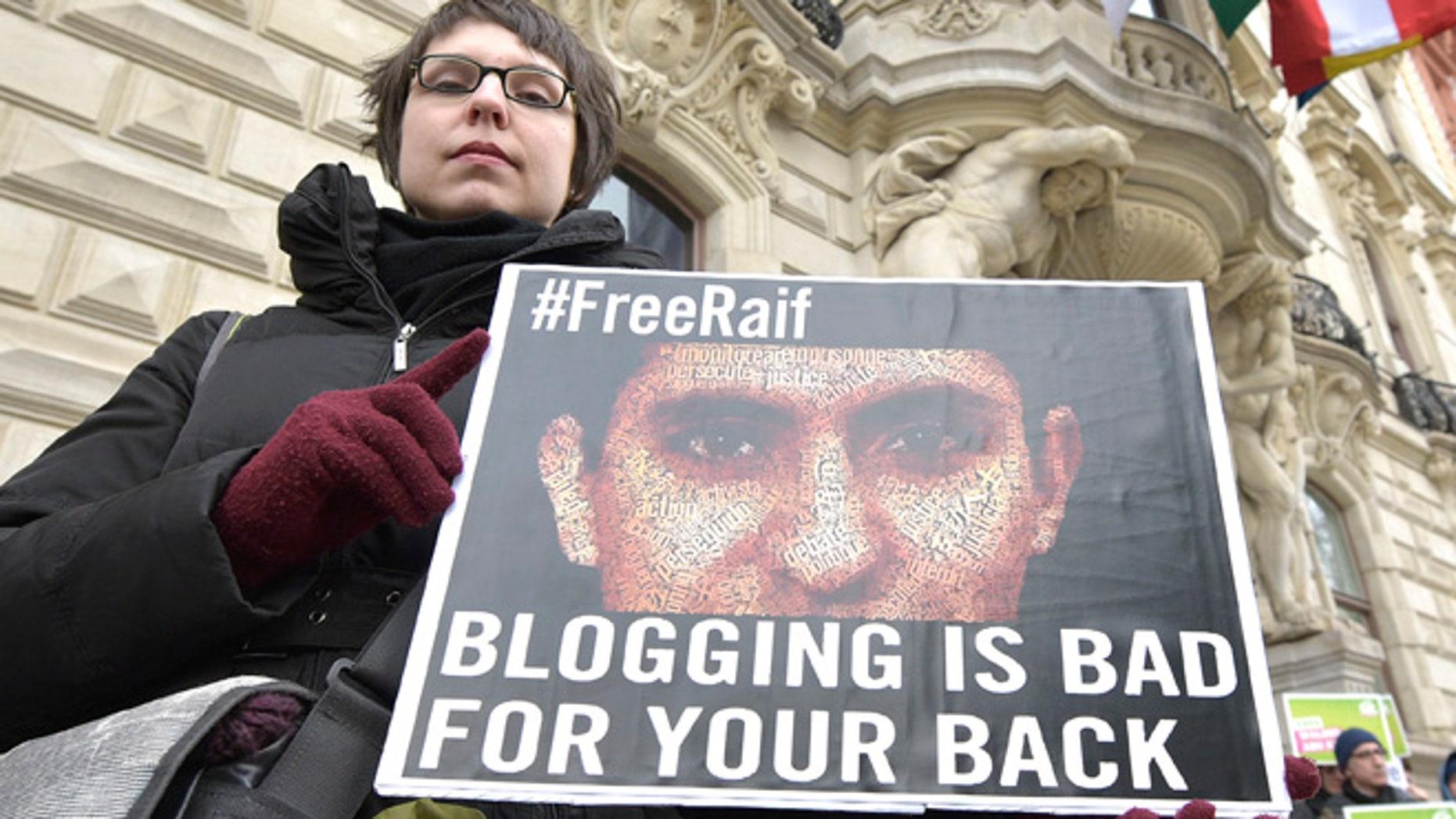Feb. 6, 2015: A protest against the punishment for Saudi blogger Raif Badawi in Vienna, Austria.