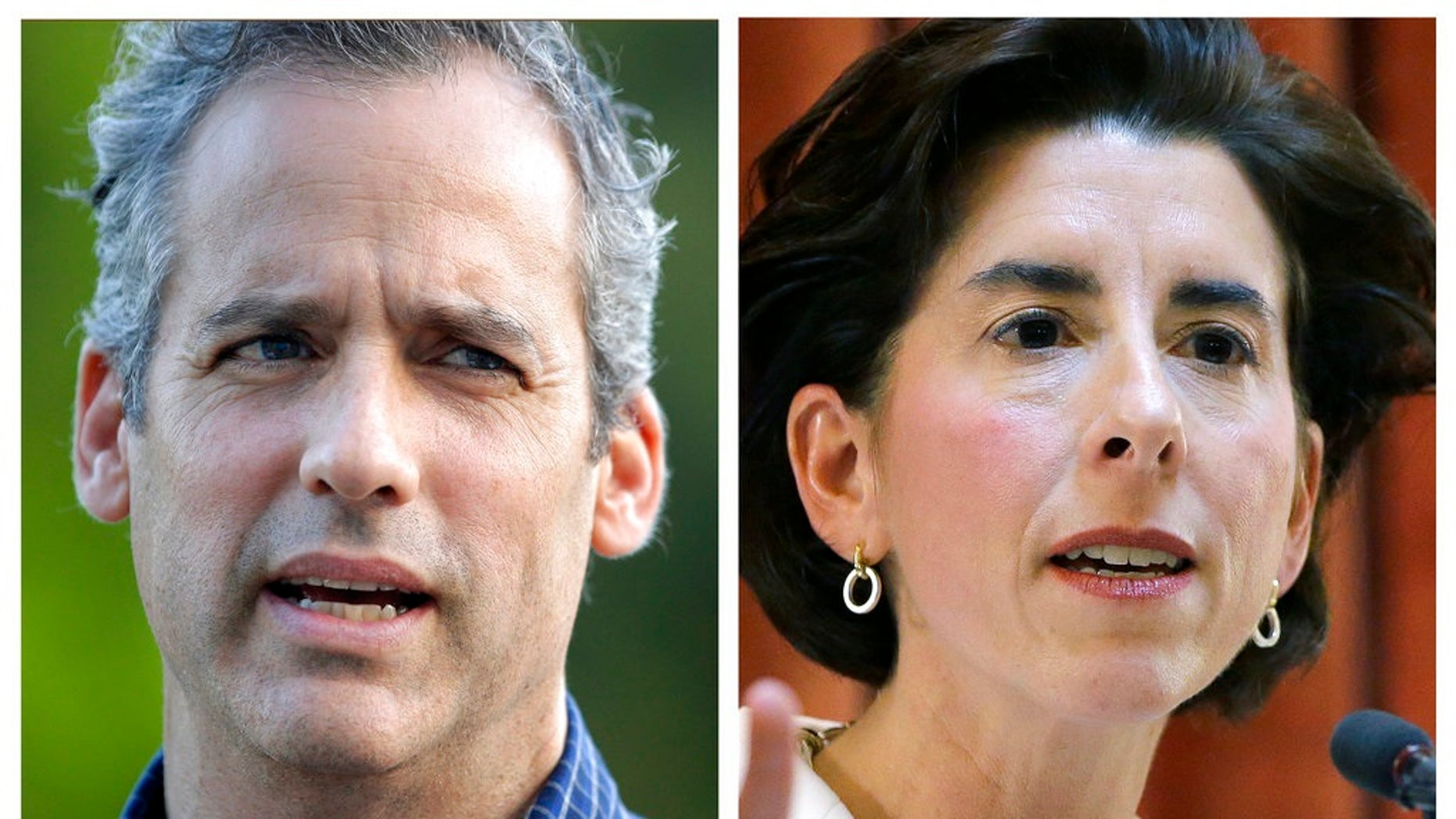 FILE - This panel of 2018 photos shows former Rhode Island Secretary of State Matt Brown, left, and Gov. Gina Raimondo. Brown, Raimondo's top challenger in the Democratic gubernatorial primary on Wednesday, Sept. 12, was defeated.