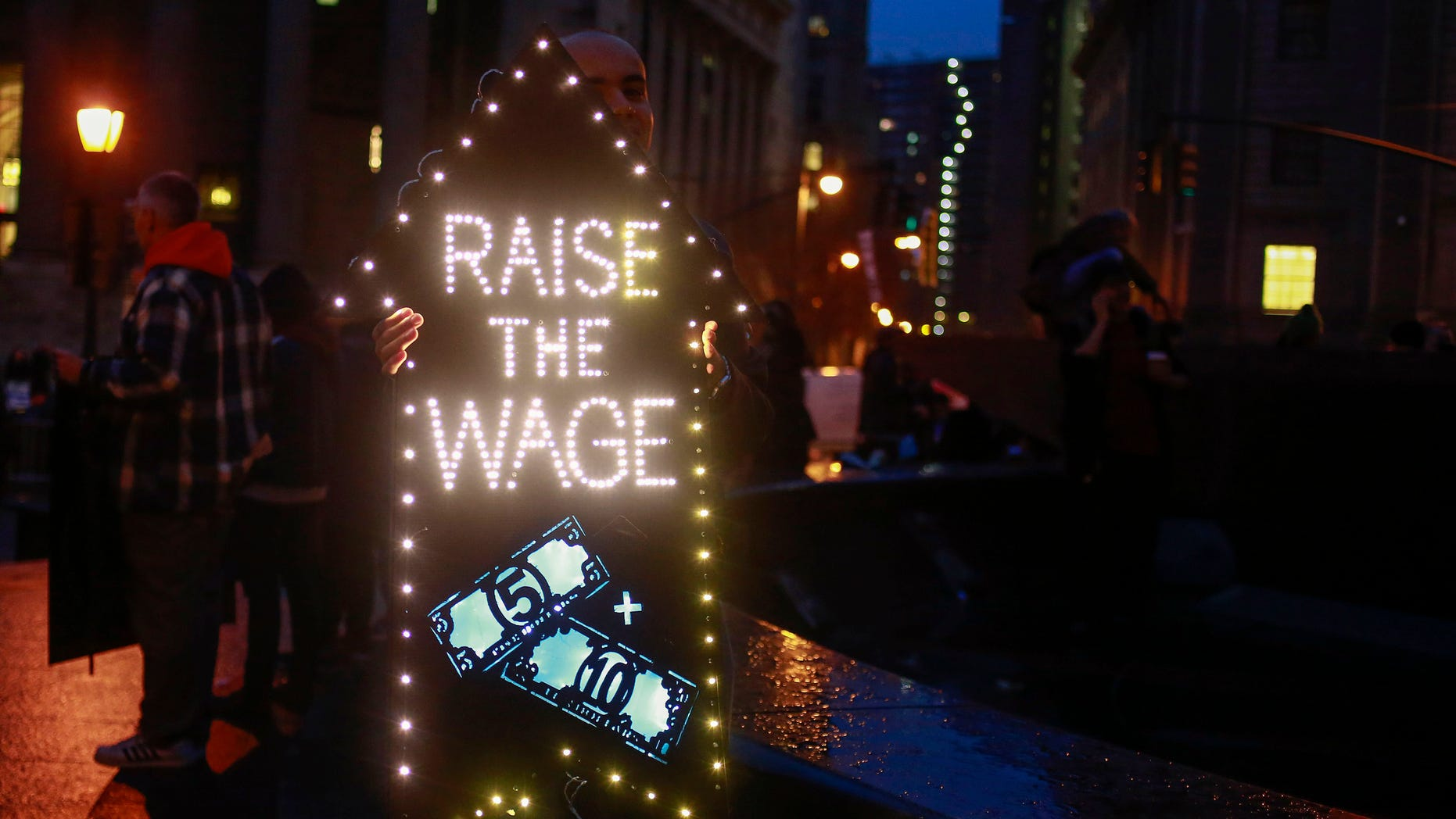 Dec. 5, 2013: Demonstrators gather during a nationwide strike and protest at fast food restaurants to raise the minimum hourly wage to $15 in New York.