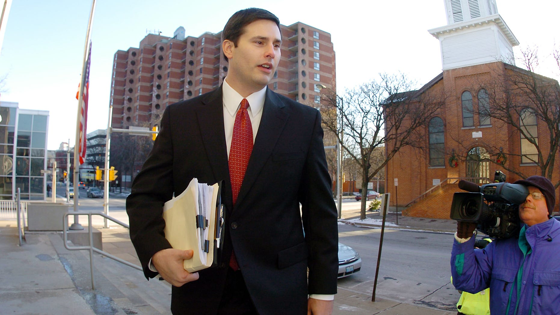 Former Shenandoah police Chief Matthew Nestor arrives at the Max Rosenn United States Courthouse in Wilkes-Barre, Pa.,  Monday, Jan. 10, 2011, for his trail on federal charges of conspiracy to obstruct justice. in the investigation into the fatal beating of an illegal immigrant from Mexico.     (AP Photo/The Citizens' Voice, Mark Moran) MANDATORY CREDIT