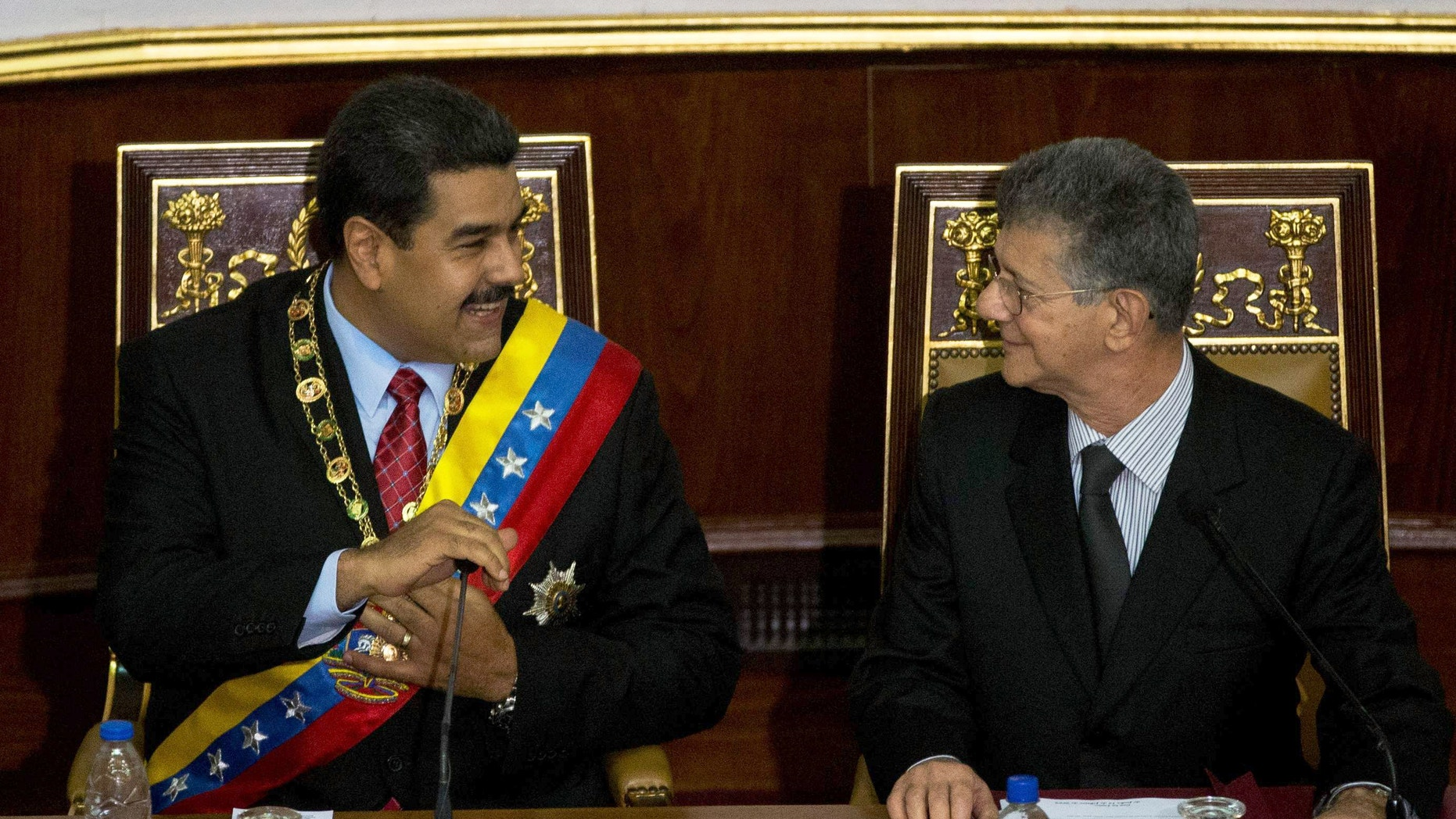 Maduro and Ramos prior to the annual state of the nation report in Caracas, Venezuela, Friday, Jan. 15, 2016.