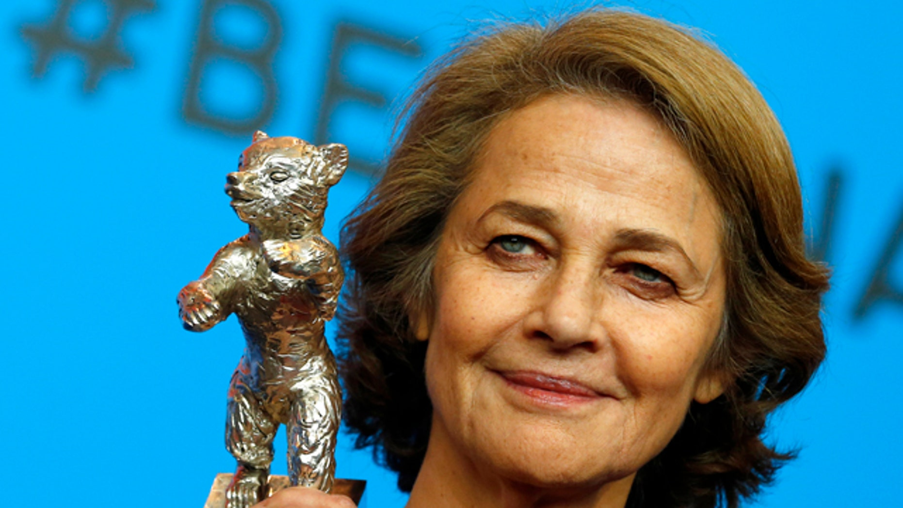 Feb. 14, 2015. Charlotte Rampling holds the Silver Bear for Best Actress for her role in 45 years after the award ceremony at the 2015 Berlinale Film Festival in Berlin, Germany.