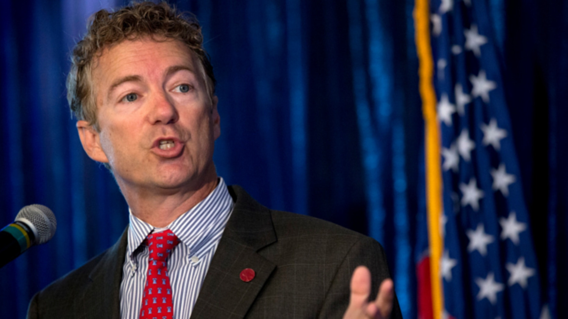 June 12, 2013: Sen. Rand Paul, R-Ky. gestures as he speaks in Washington.
