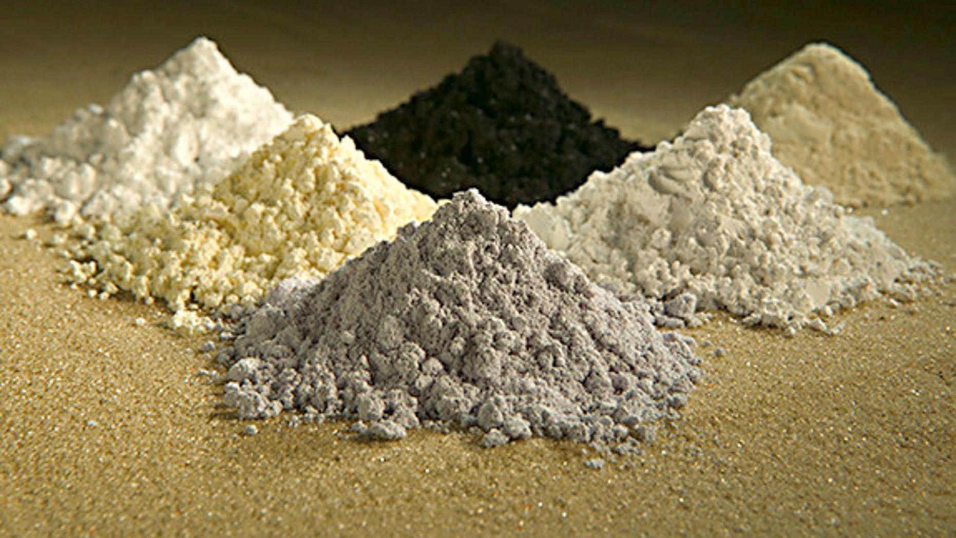 Rare Earths, clockwise from top center: praseodymium, cerium, lanthanum, neodymium, samarium and gadolinium.