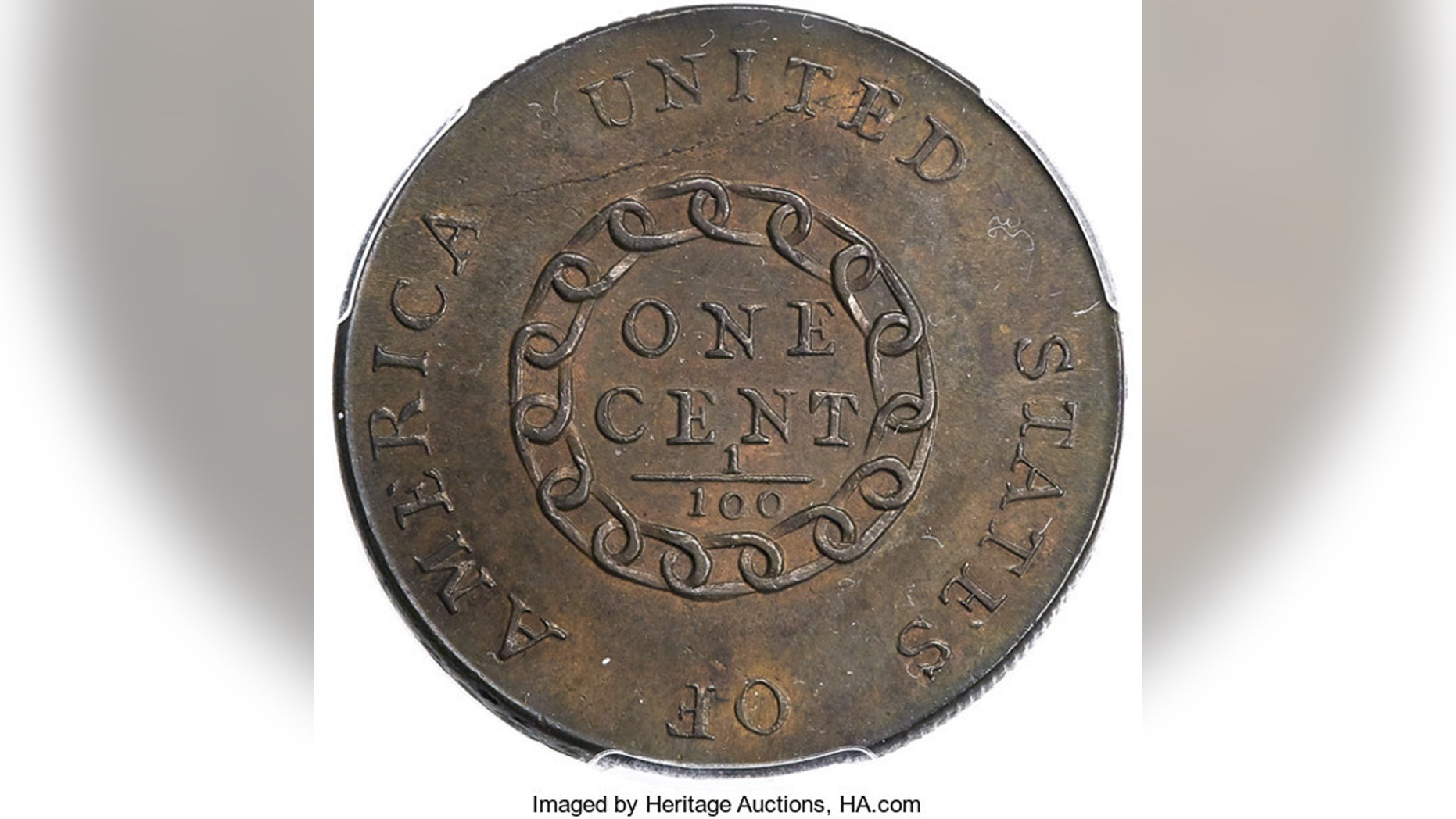 This undated image provided by Heritage Auctions shows a 1793 cent made by the U.S. mint in Philadelphia. The penny went up for auction at the annual Florida Numismatic Convention in Tampa, Fla., this week. (Heritage Auctions via AP)