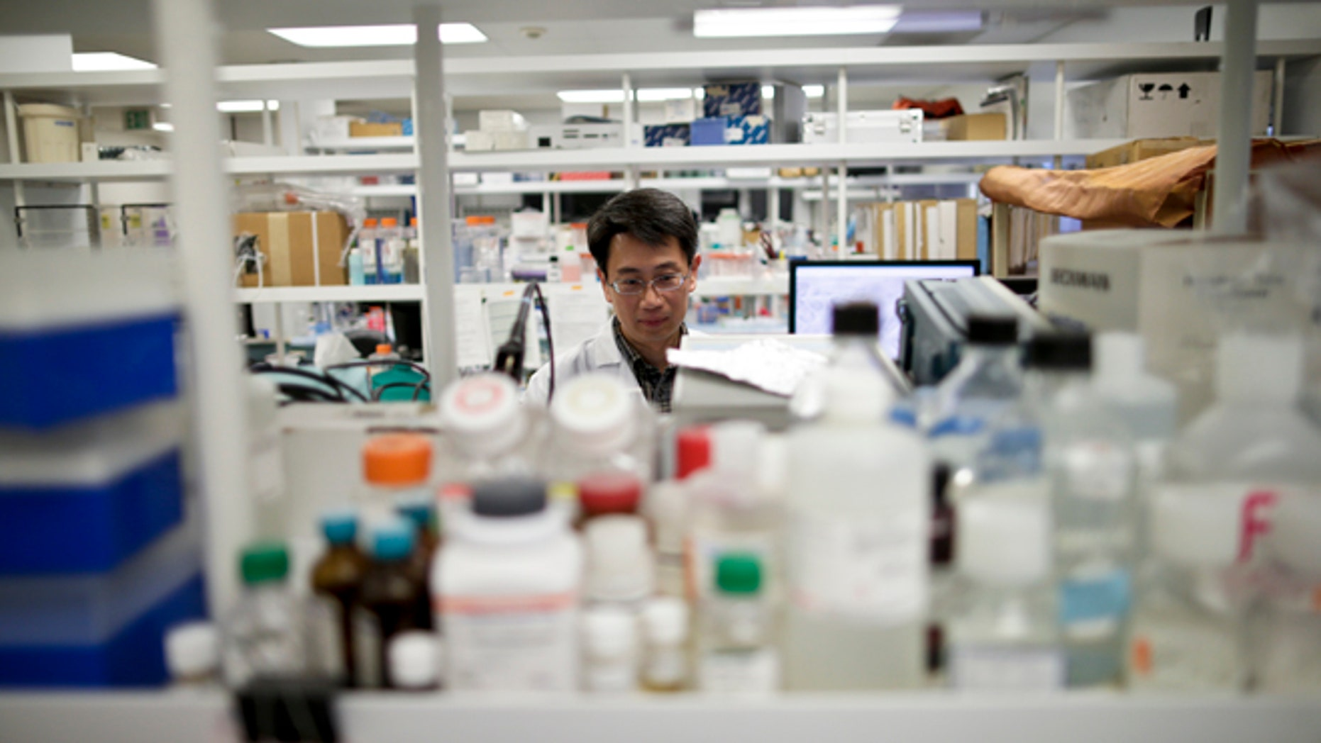 March 4, 2015: In this photo, research scientist Tony Huang works in a laboratory at Vertex Pharmaceuticals Inc. in San Diego.