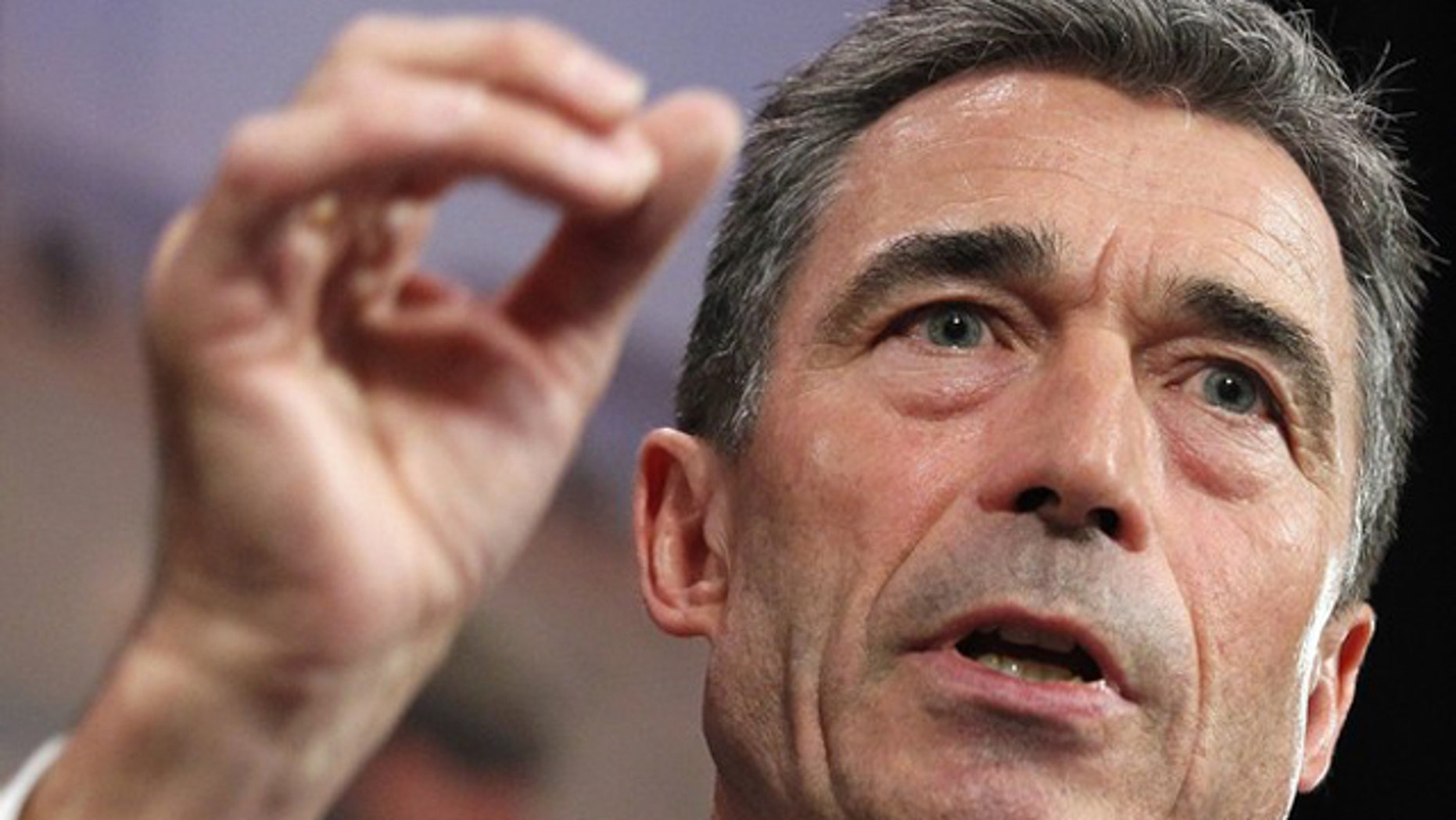 NATO Secretary General Anders Fogh Rasmussen briefs the media during his monthly news conference at the Alliance headquarters in Brussels May 4.