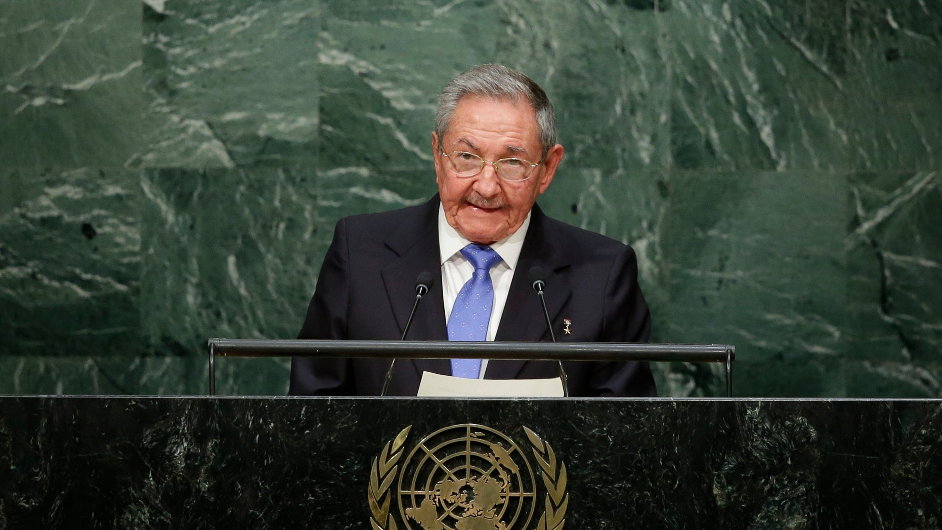 Cuba's President Raul Castro speaks during the General Assembly at Monday, Sept. 28, 2015.