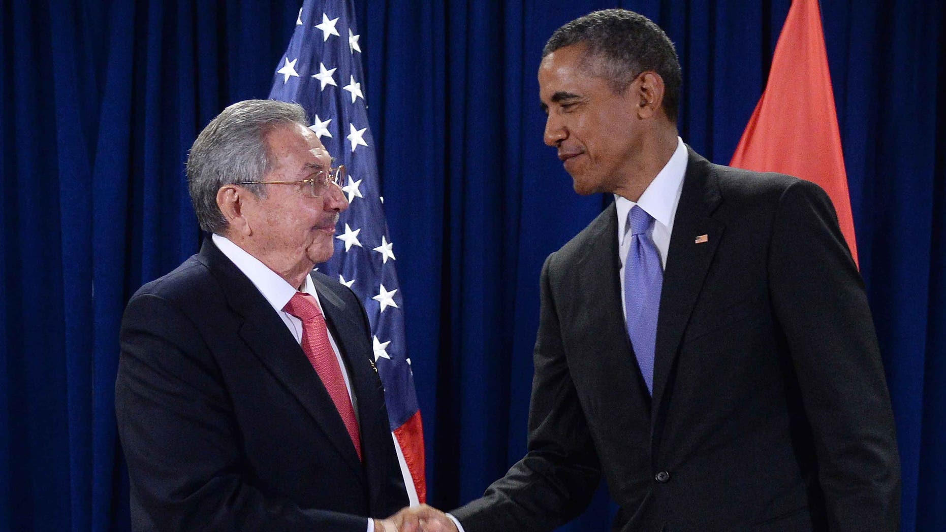 Presidents Barack Obama and Raul Castro on September 29, 2015 in New York City.