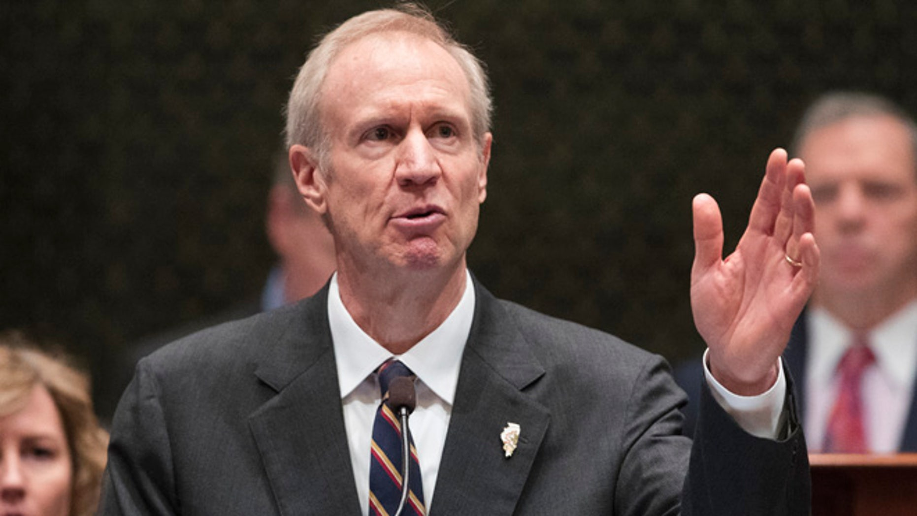 Illinois Gov. Bruce Rauner speaks in the state House chamber in Springfield this past January.