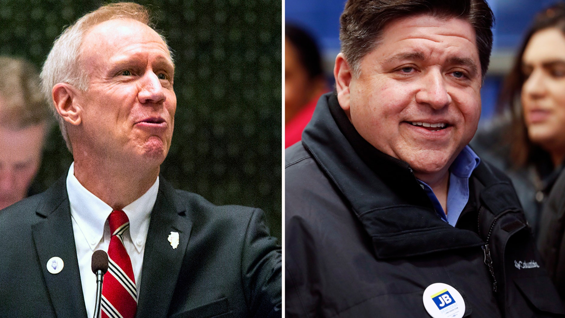 Illinois Gov. Bruce Rauner, left, and Democratic gubernatorial candidate J.B. Pritzker.