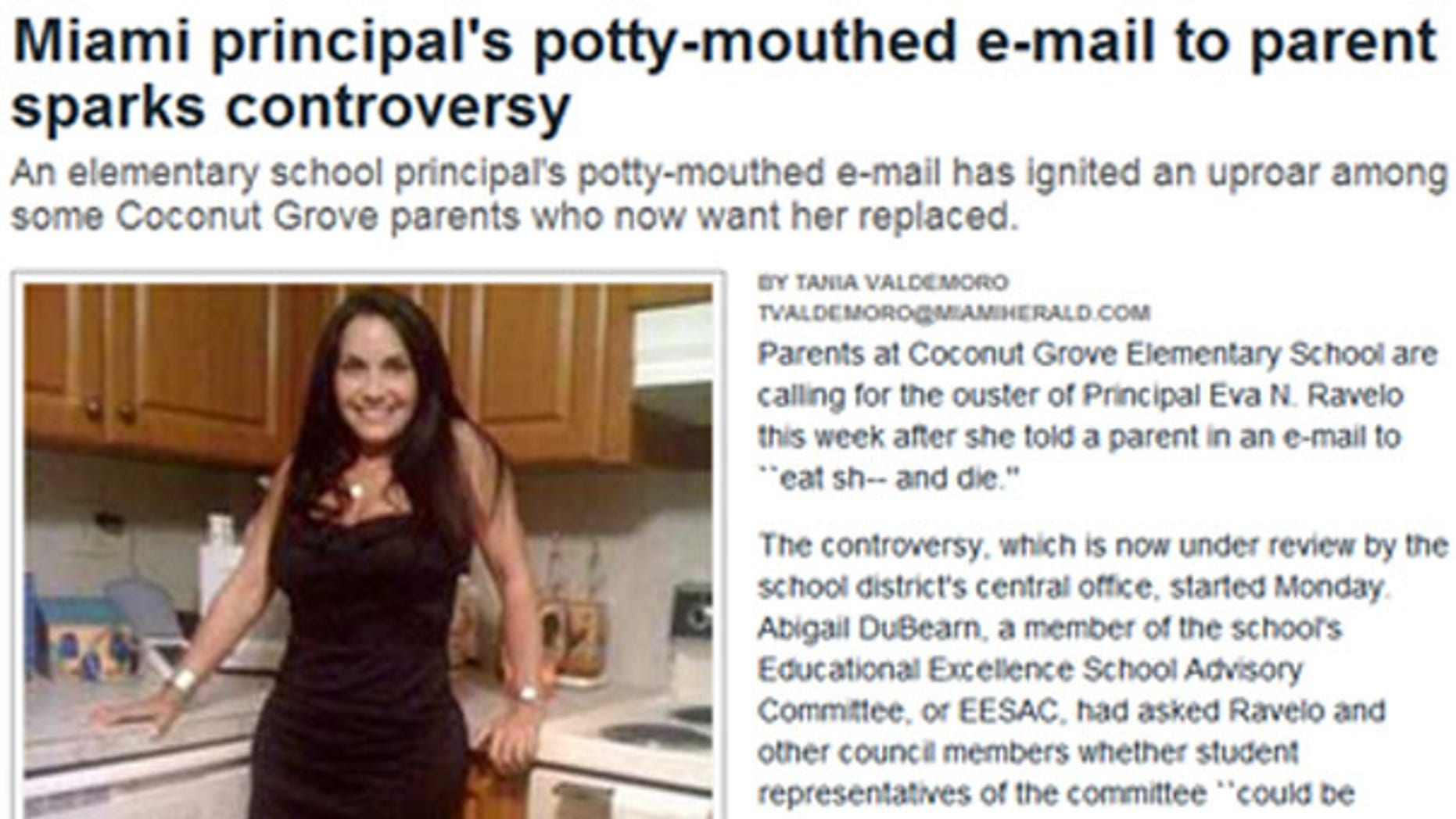 Coconut Grove Elementary School Principal Eva Ravelo is seen in an image from her Facebook profile that has since been removed. The Miami Herald obtained the photo prior to its removal.