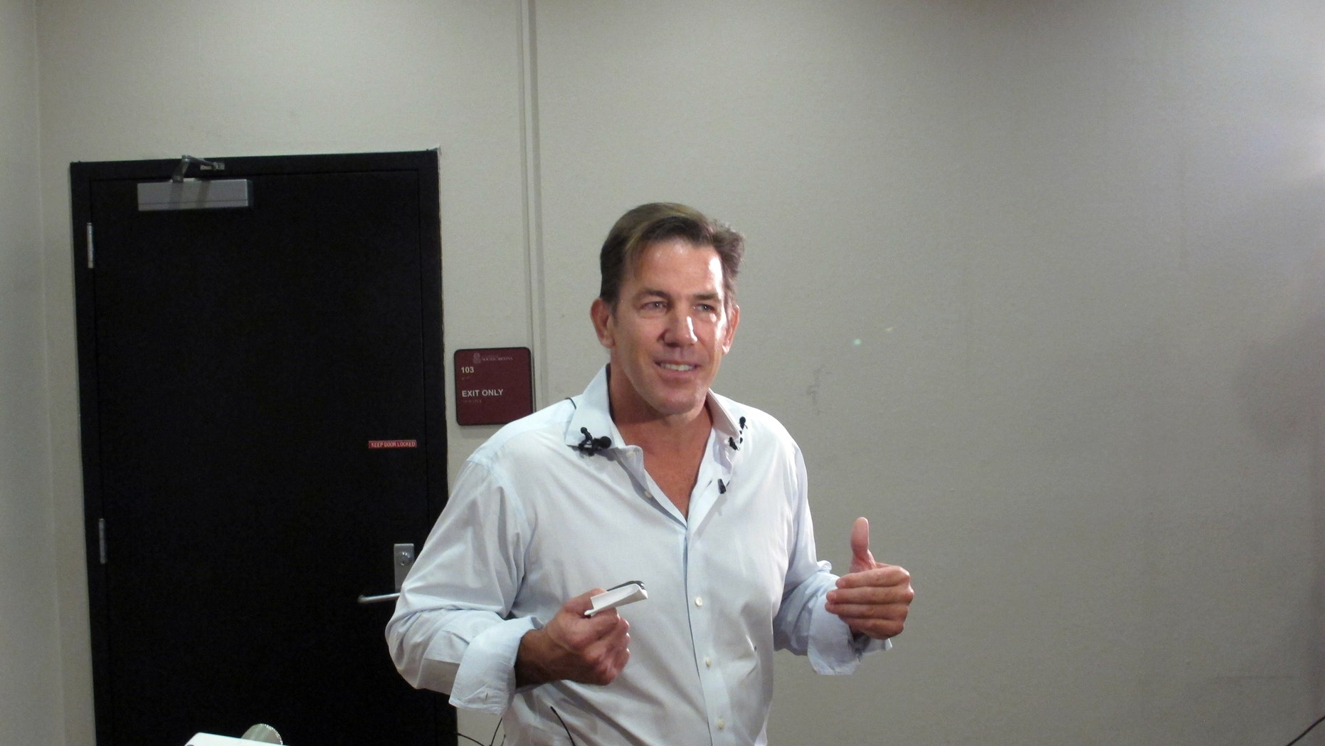 July 14, 2014: Former South Carolina Treasurer Thomas Ravenel talks to reporters after applying to run as an independent candidate for the U.S. Senate seat held by Lindsey Graham at the state Election Commission headquarters.