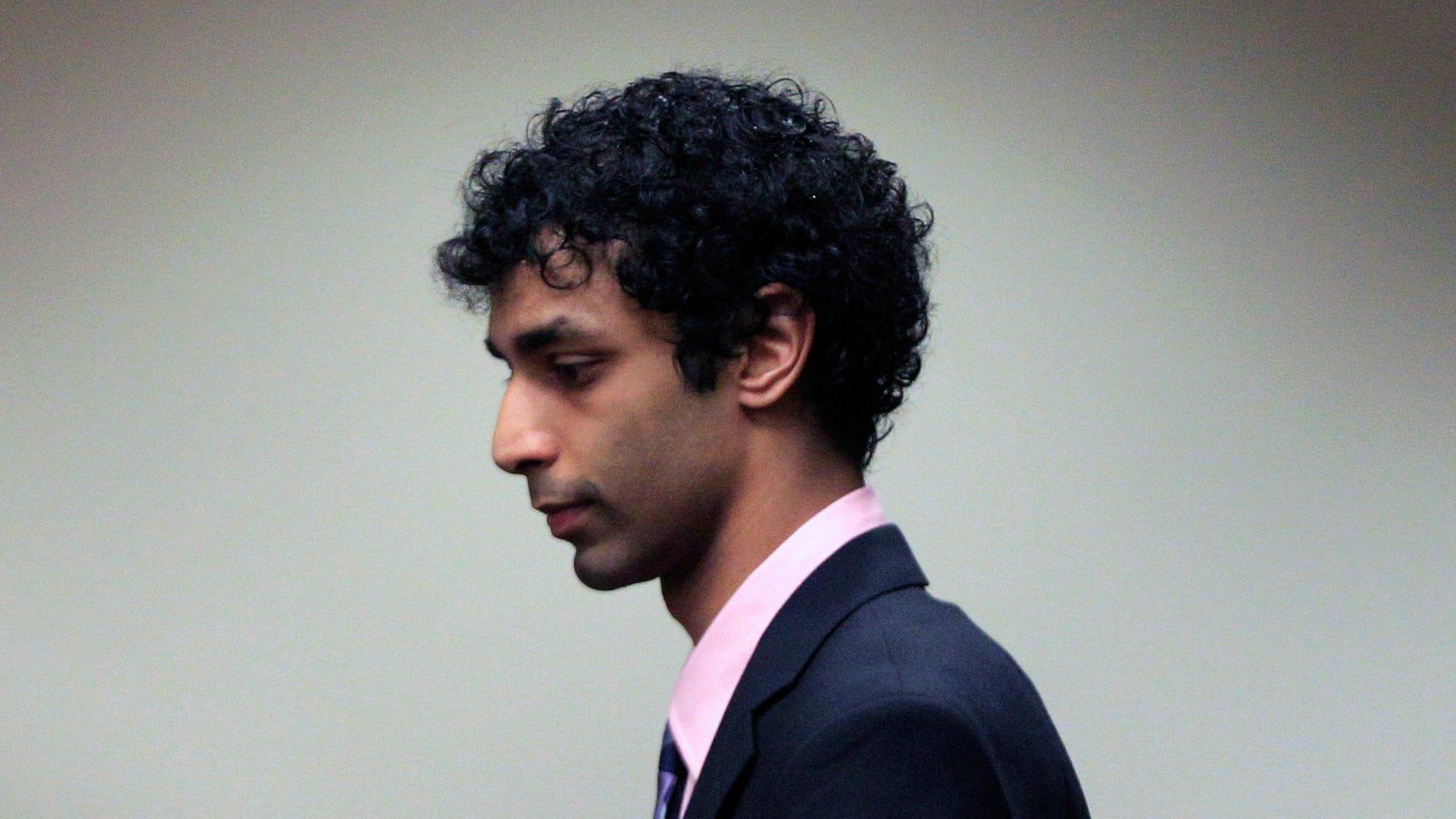 Dharun Ravi arrives at court for his sentencing hearing in New Brunswick, N.J.