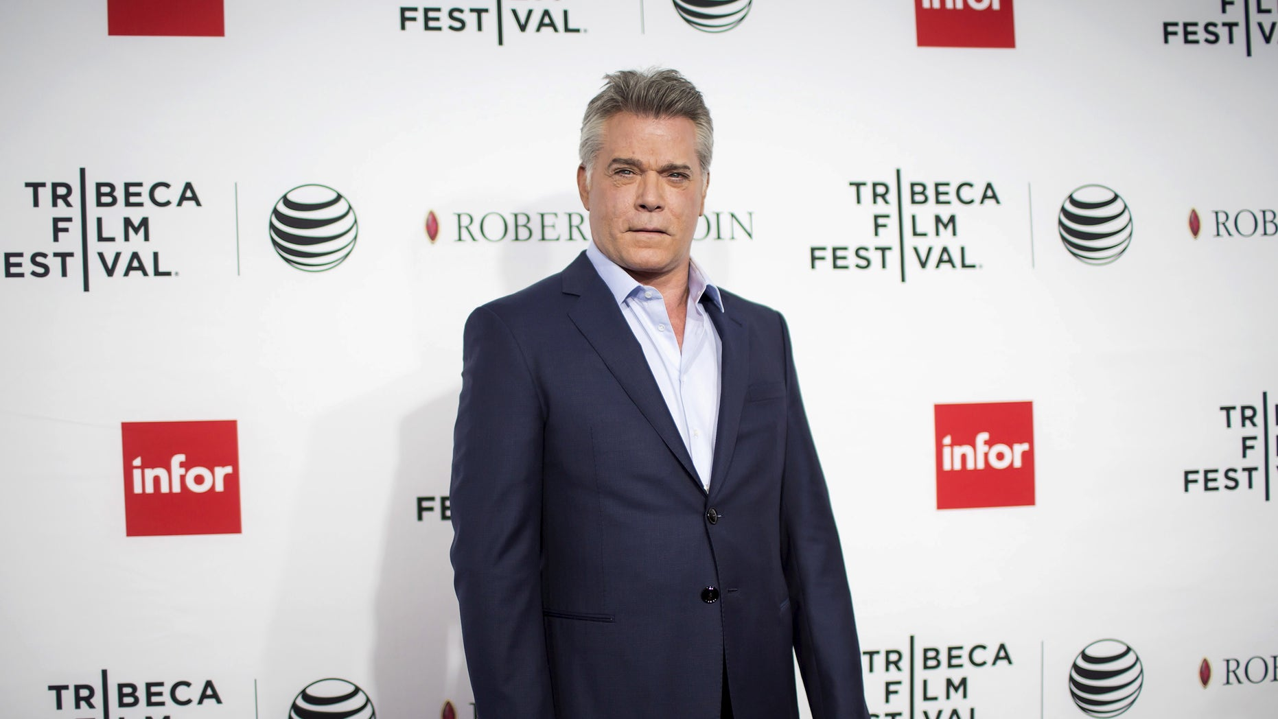 """April 25, 2015. Actor Ray Liotta arrives at a screening of the film """"Good Fellas"""" during the Tribeca Film Festival in New York City."""