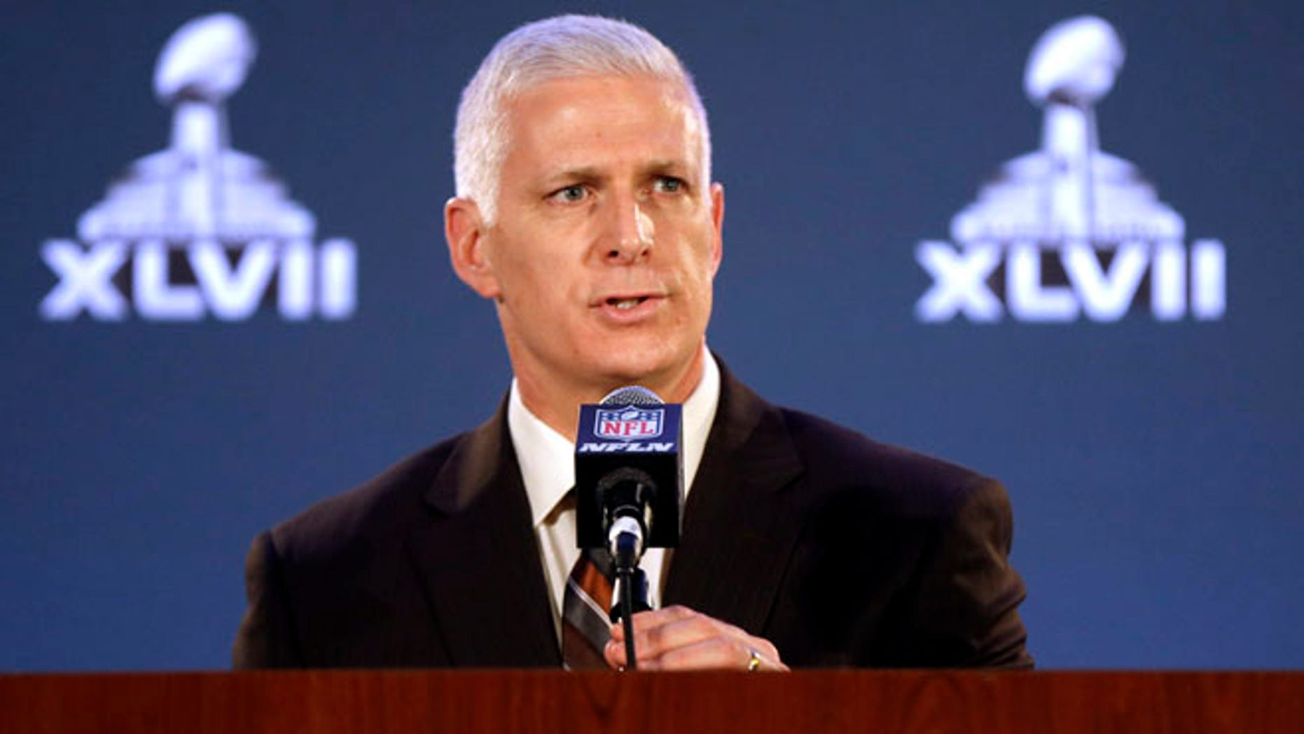 Jan. 30, 2013: Jeffery Miller, NFL vice president of security, addresses the media at a news conference for Super Bowl XLVII in New Orleans. (AP)