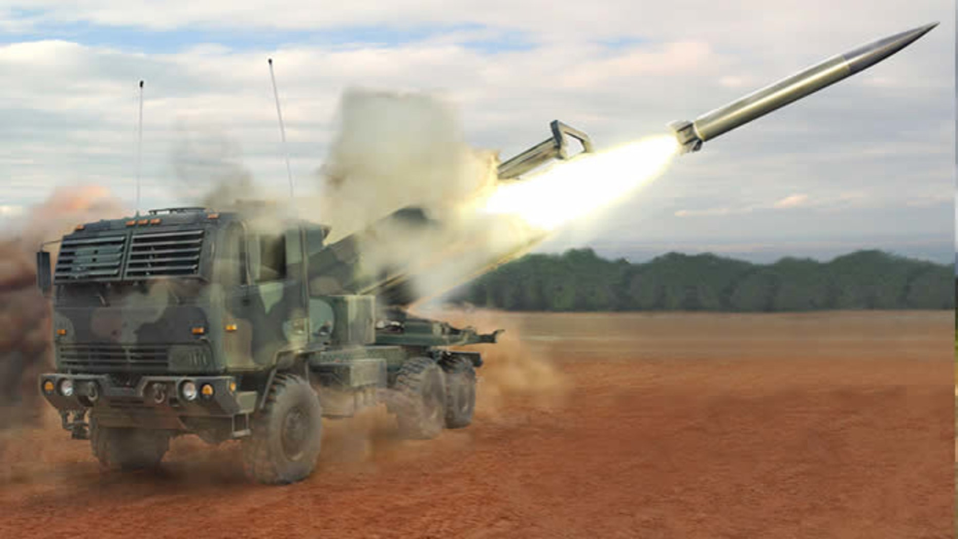 Raytheon's new DeepStrike missile is deployed from a mobile launcher in this artist's rendering (Raytheon)