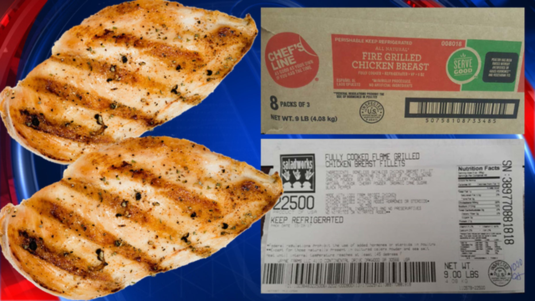 The ready-to-eat grilled chicken breast items were produced on March 29, 2017 and April 7, 2017.