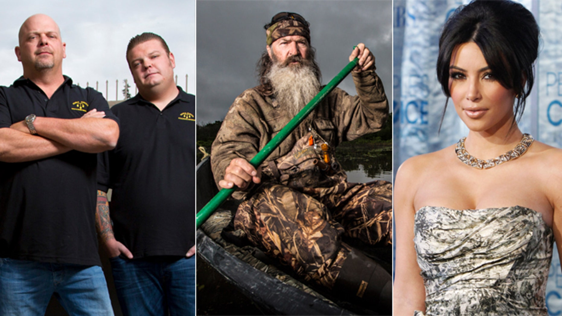 """Rick and Corey Harrison of """"Pawn Stars,"""" left, Phil Robertson of """"Duck Dynasty,"""" center, and Kim Kardashian of """"Keeping Up With the Kardashians."""""""