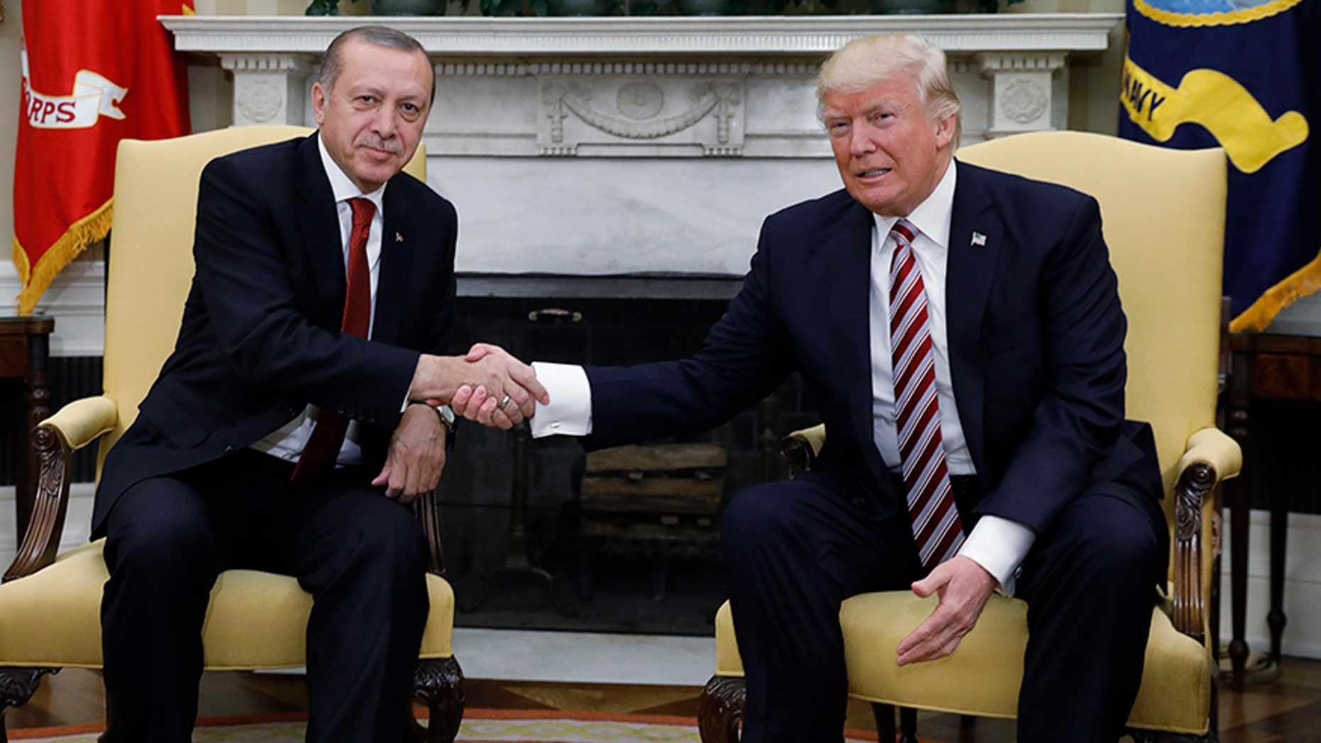 Turkey's President Recep Tayyip Erdogan with U.S President Donald Trump in the Oval Office of the White House, May 16, 2017.