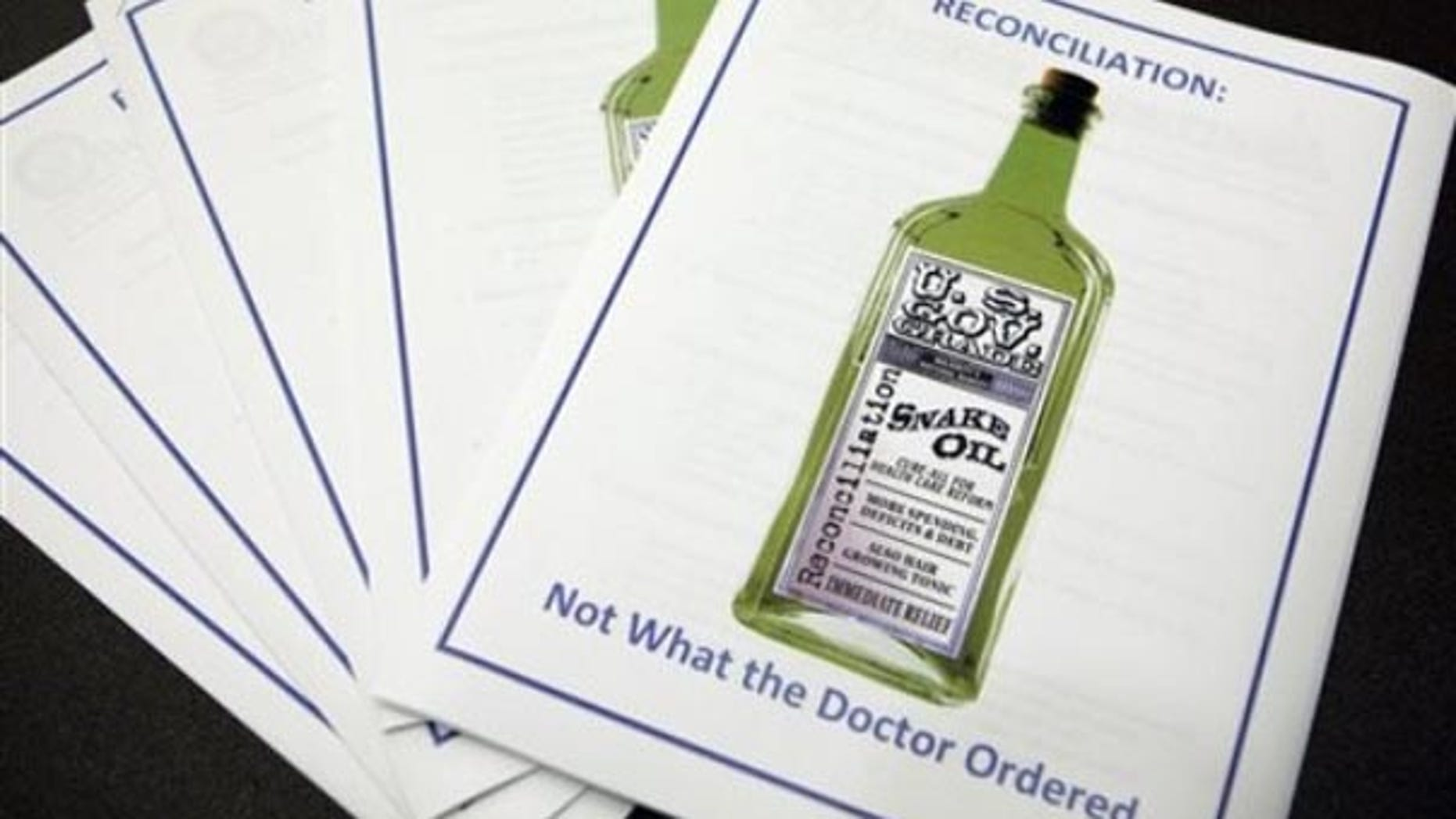 These are information packets as seen on Capitol Hill, Tuesday, Sept. 29, 2009, made available during a Congressional Health Care Caucus discussion on health care reform and budget reconciliation. (AP).