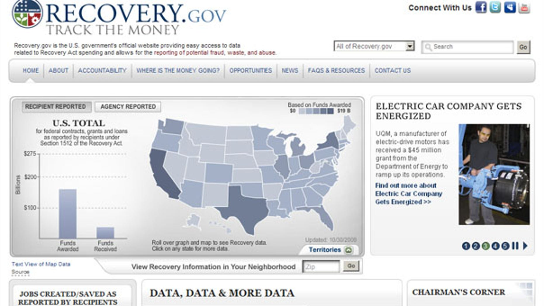 The Web site shown here is supposed to track the impact of stimulus spending. (Recovery.gov)