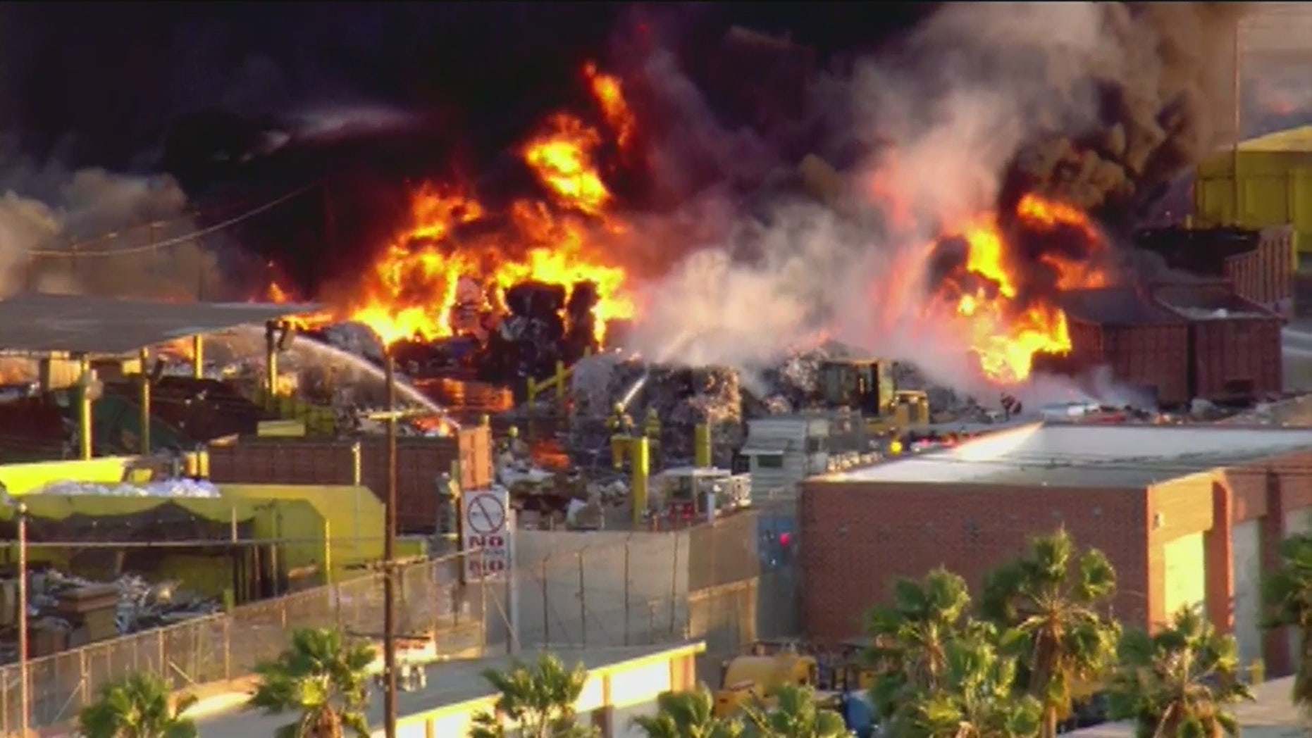 A fire at a recycling plant in South Los Angeles. (Fox 11)