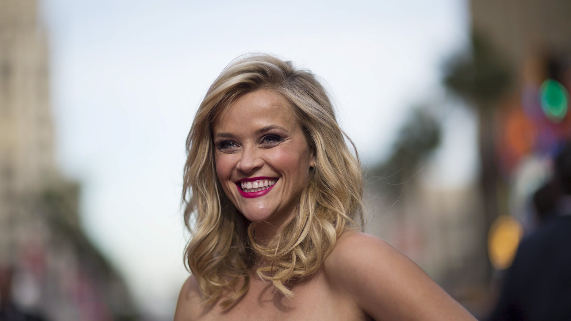 """April 30, 2015. Reese Witherspoon poses at the premiere of """"Hot Pursuit"""" in Hollywood."""