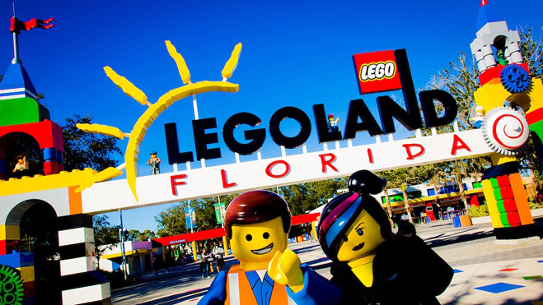 "Characters from ""The LEGO Movie"" near the entrance of Legoland Florida."