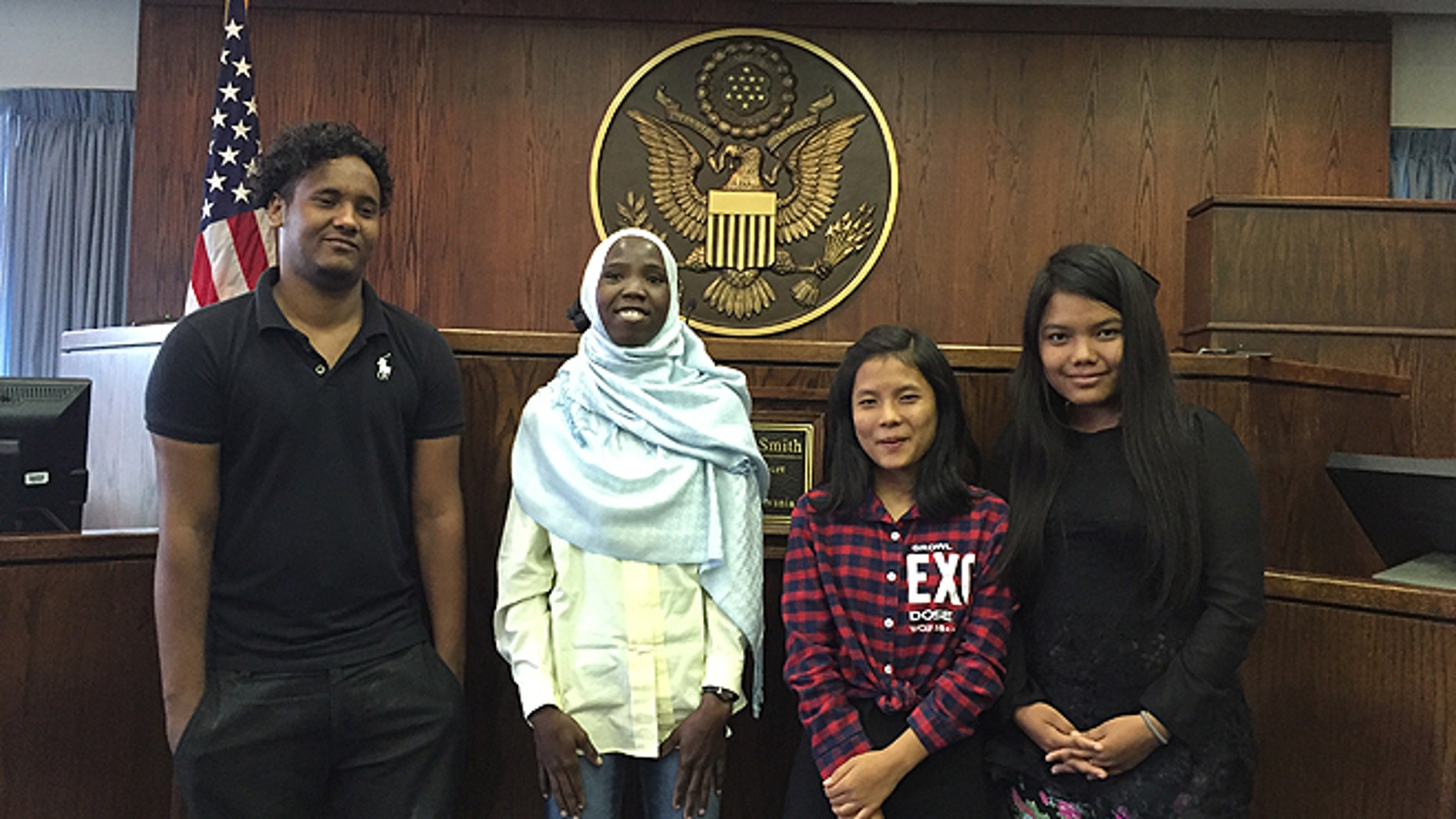 Four of the students, shown here at federal court where they are suing the Lancaster (Pa.) school district.