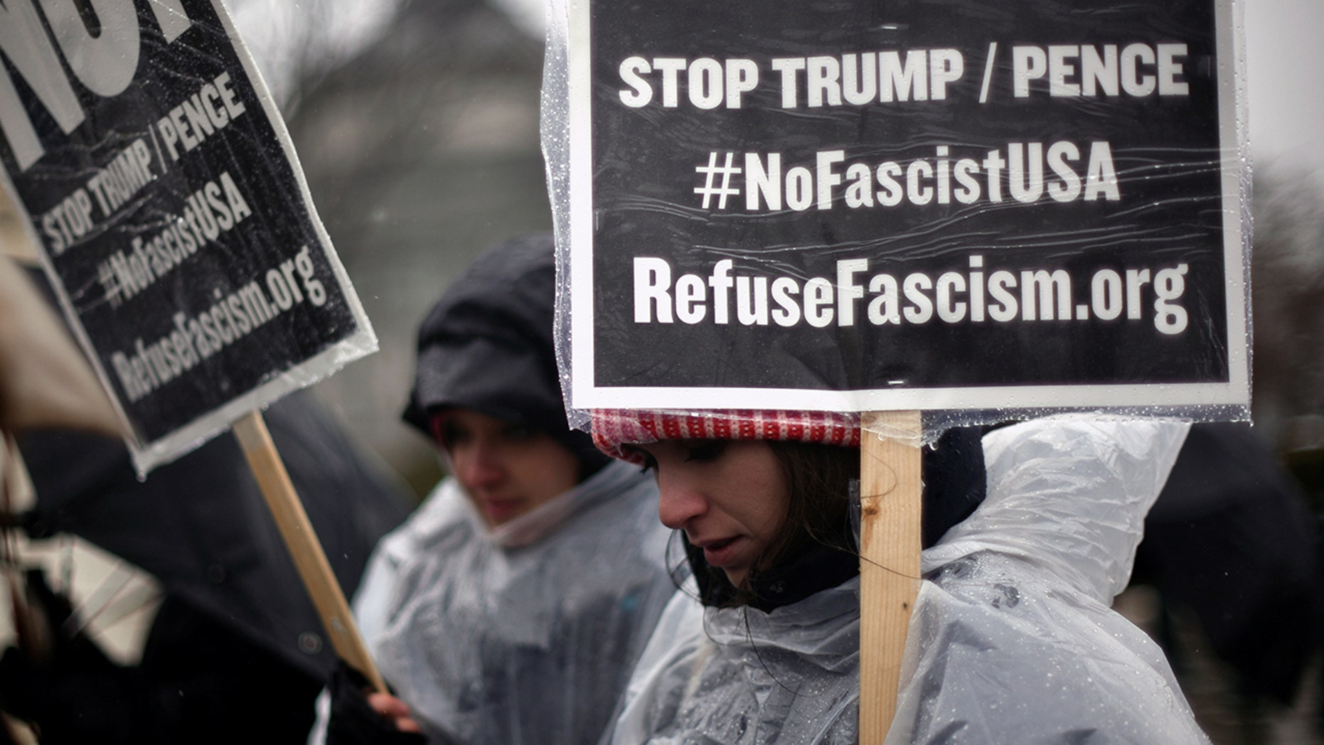 A November protest organized by RefuseFascism.org, seen above outside the Supreme Court in January, turned out to be a dud.